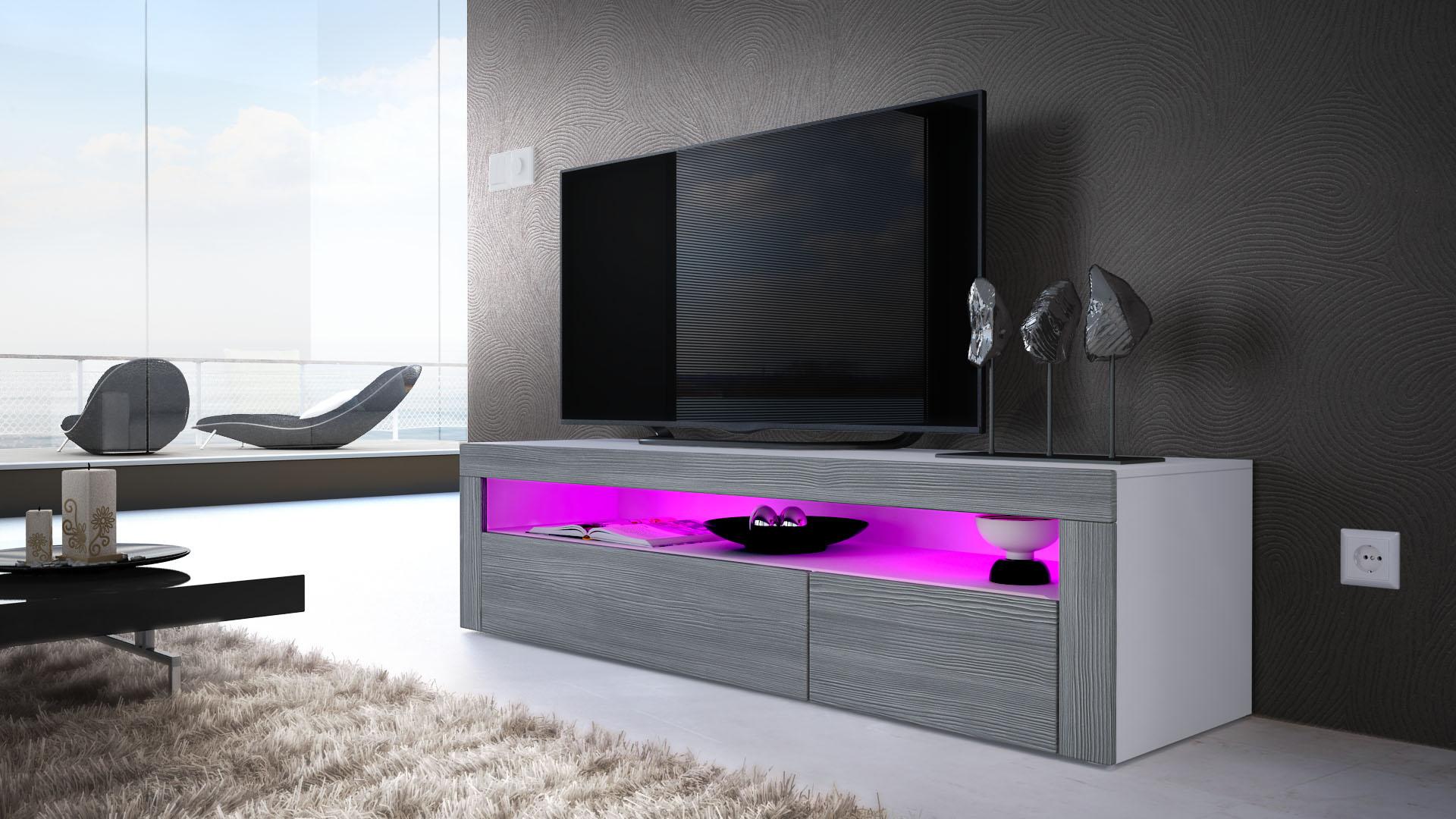 Armoire basse meuble tv valencia en blanc fa ades en for Meuble tv armoire