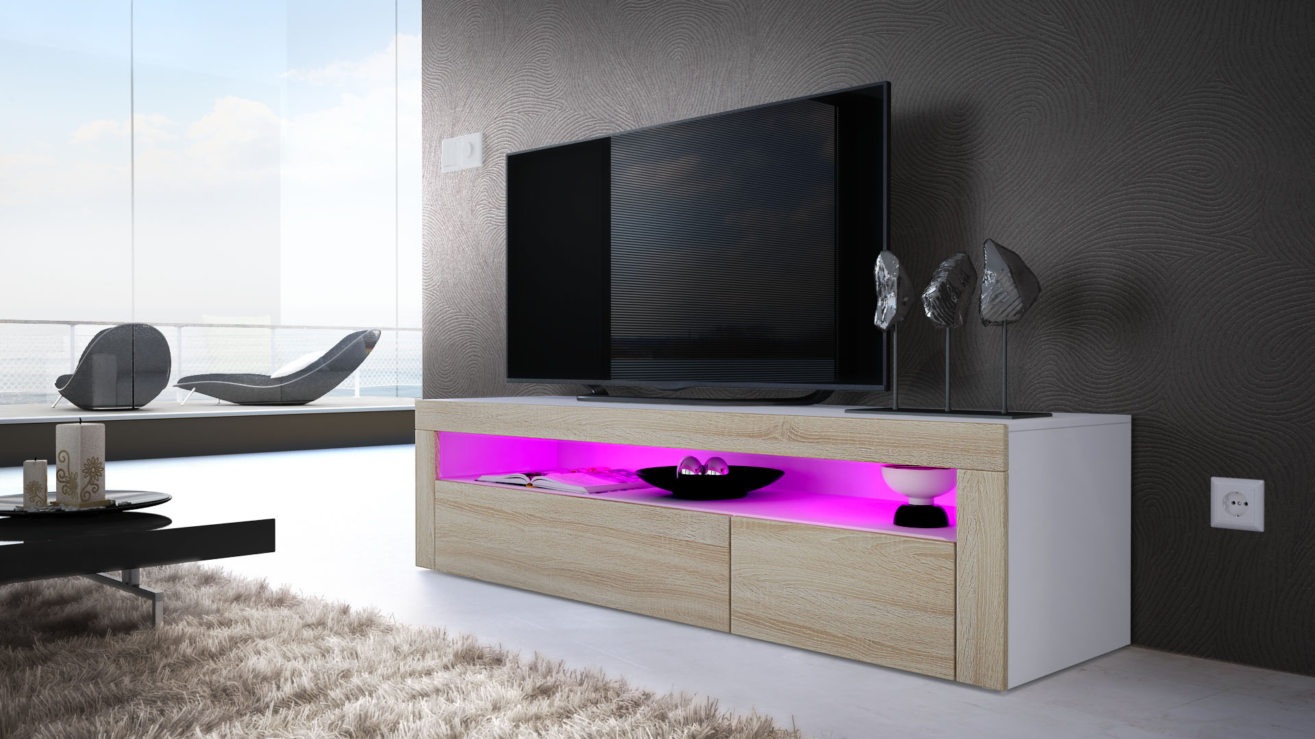 tv unit stand sideboard led valencia in white high gloss. Black Bedroom Furniture Sets. Home Design Ideas