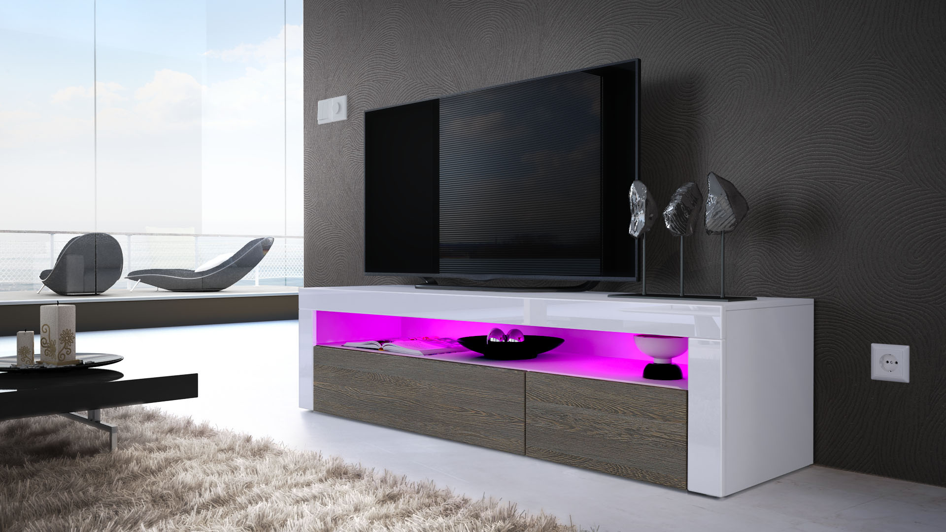 TV-Unit-Stand-Sideboard-LED-Valencia-in-White-High-Gloss-amp-Natural ...