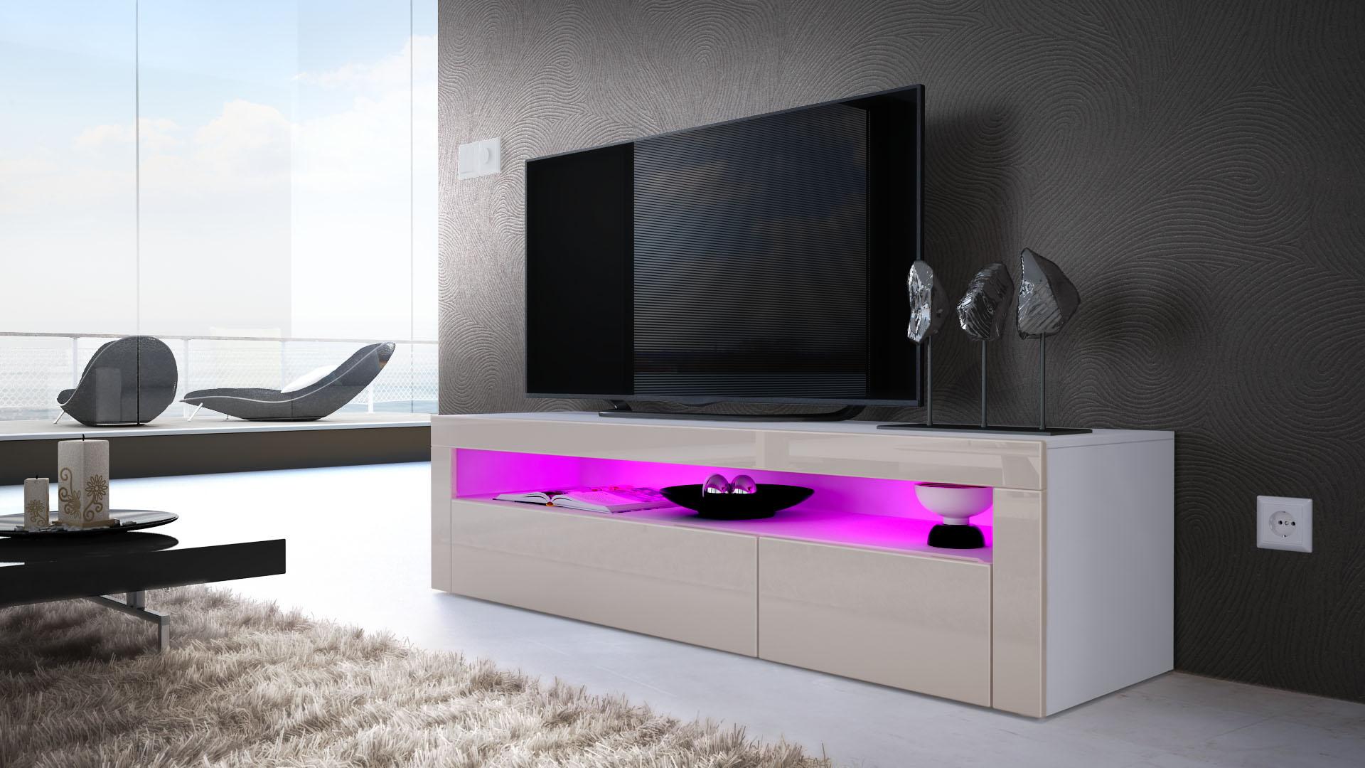 tv board lowboard unterschrank sideboard valencia in wei hochglanz. Black Bedroom Furniture Sets. Home Design Ideas
