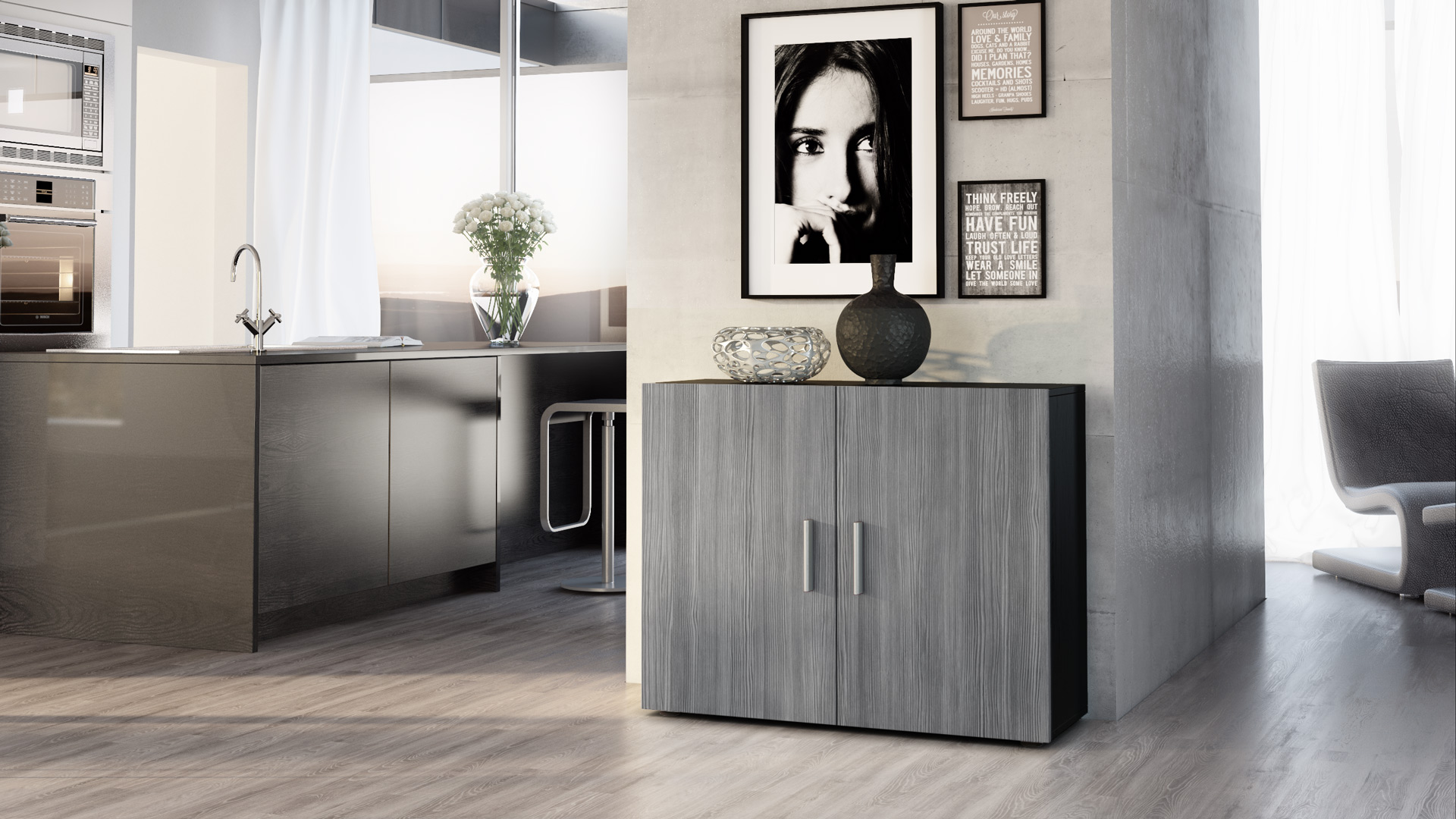 kommode schrank anrichte sideboard vega in schwarz hochglanz naturt ne ebay. Black Bedroom Furniture Sets. Home Design Ideas