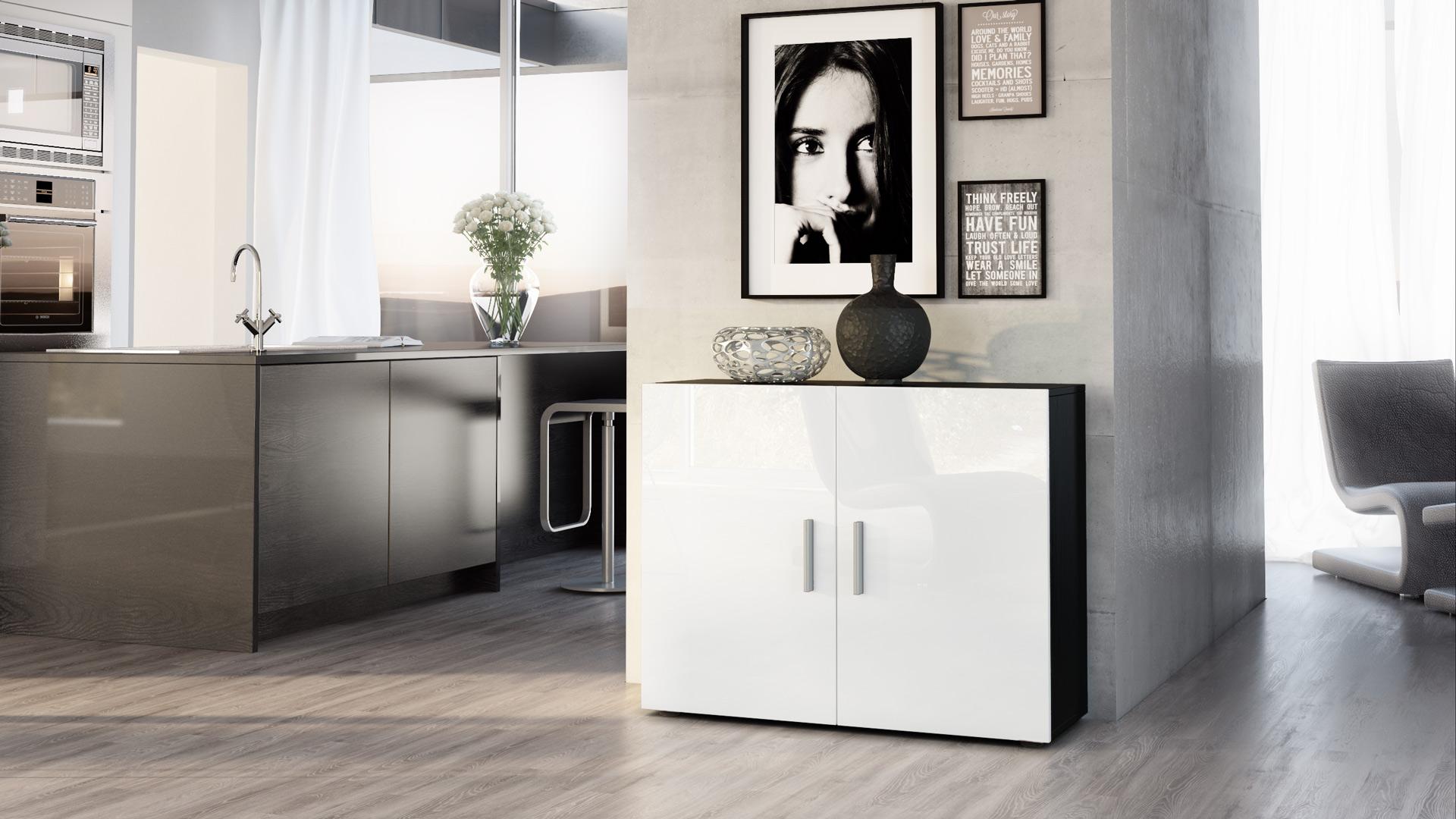 kommode schrank anrichte sideboard vega in schwarz. Black Bedroom Furniture Sets. Home Design Ideas