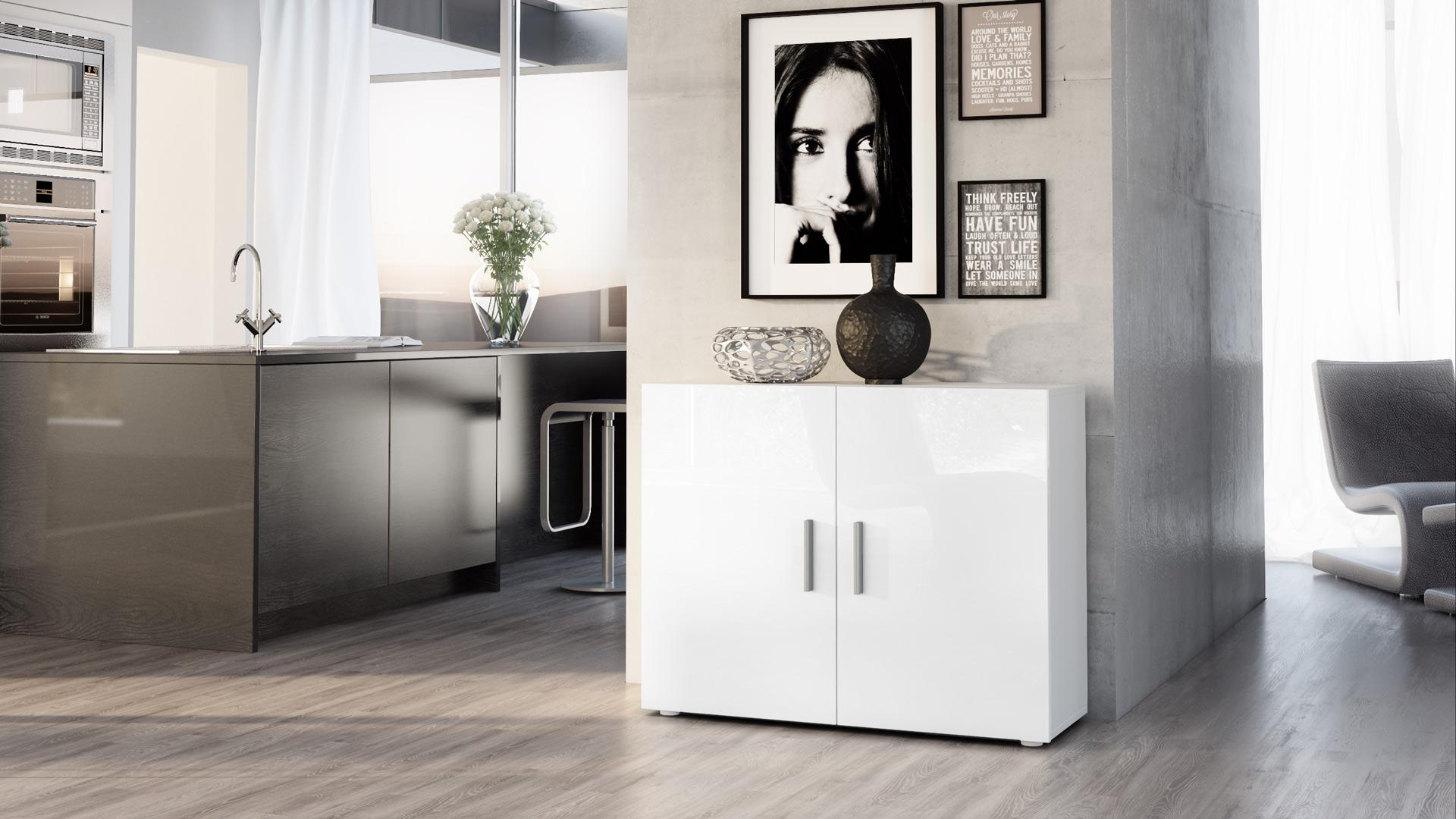 Cabinet Sideboard Cupboard Chest Buffet Vega White