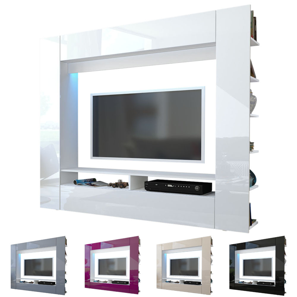 Wall Unit TV Stand Living Room Furniture Olli White  High  ~ Tv Schrank Bauen