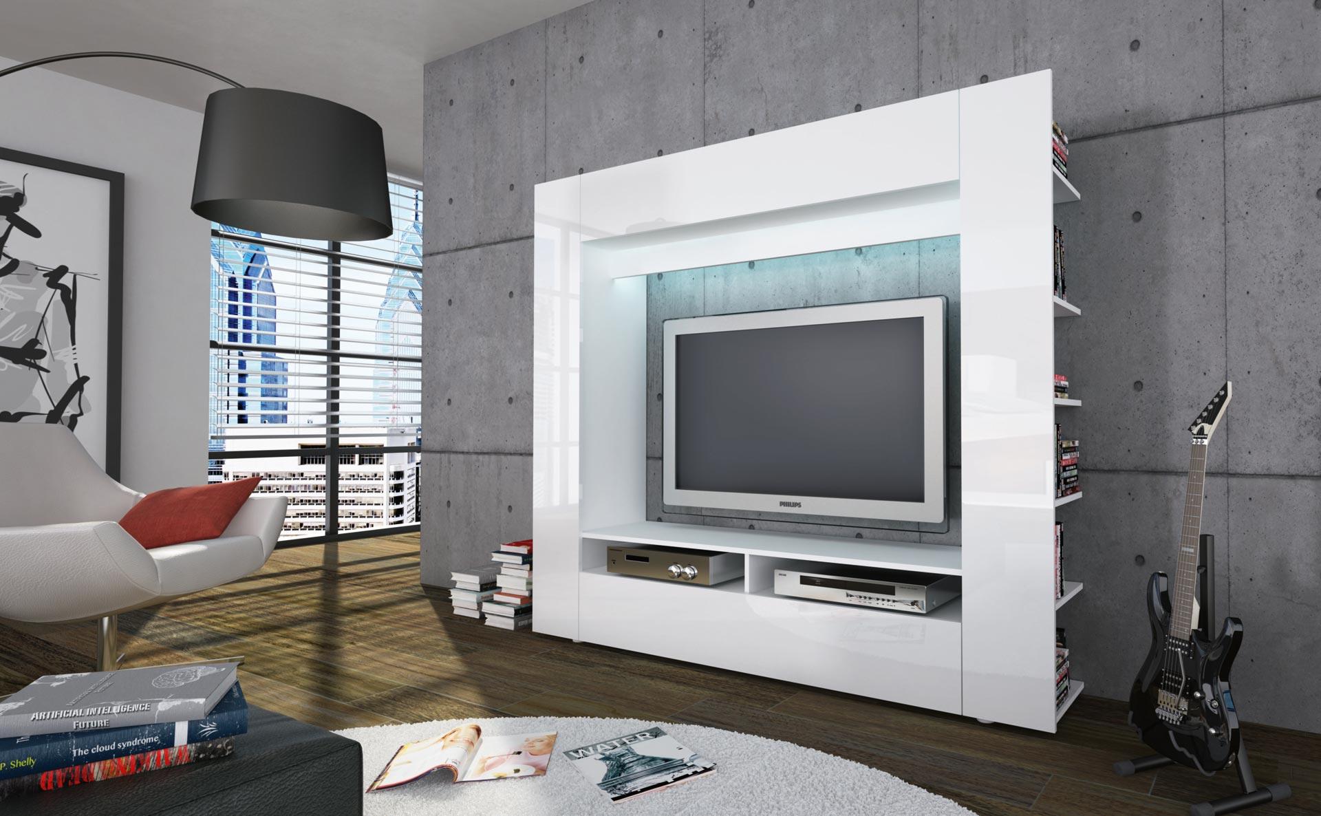moderne anbauwand mediacenter wohnwand schrankwand olli wei schwarz hochglanz ebay. Black Bedroom Furniture Sets. Home Design Ideas