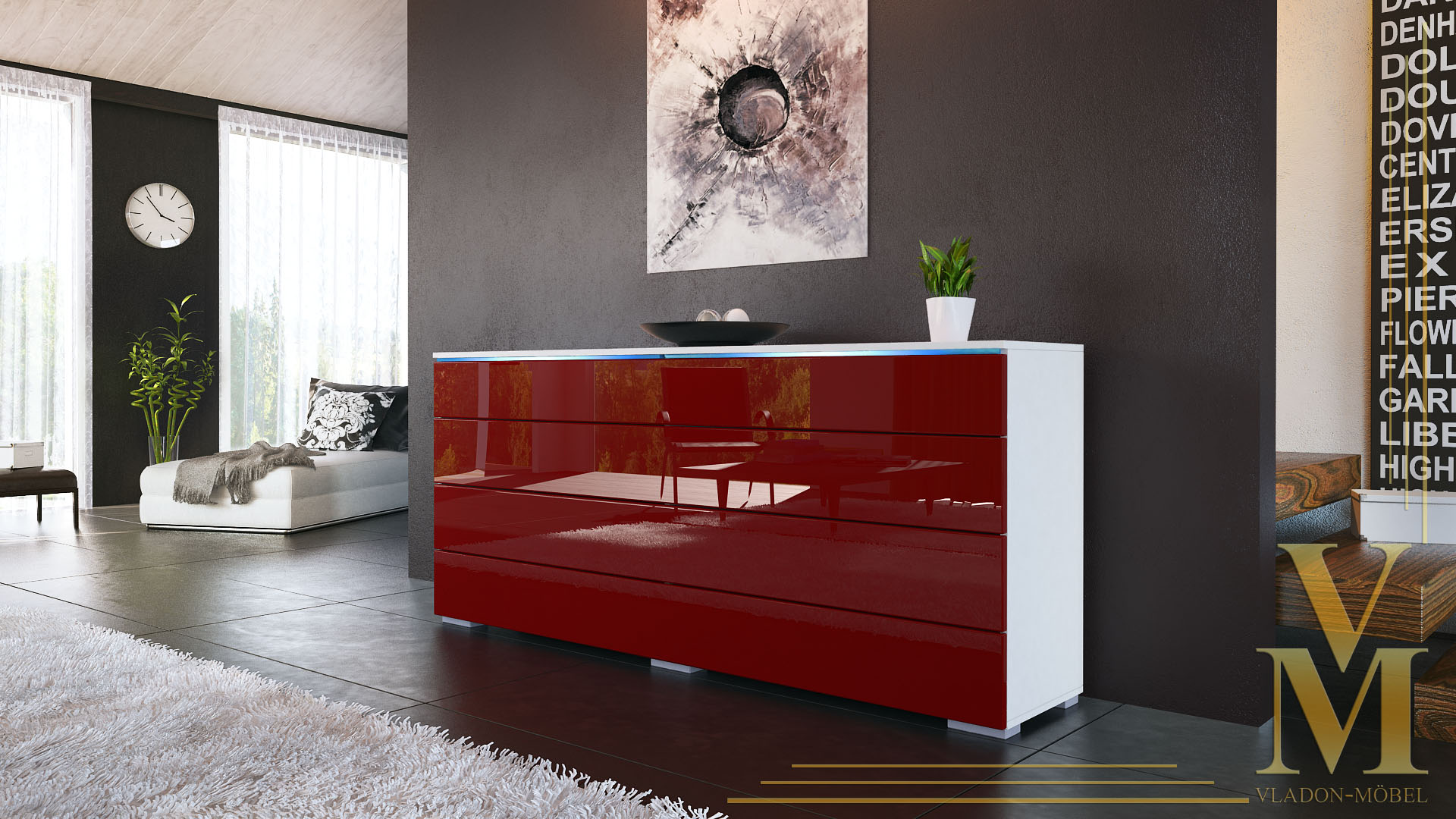 sideboard kommode tv board schrank anrichte pl n wei hochglanz naturt ne ebay. Black Bedroom Furniture Sets. Home Design Ideas