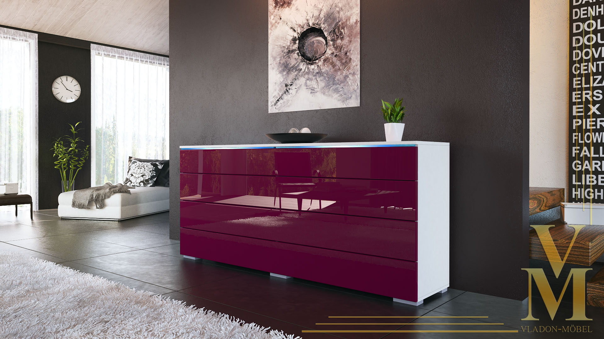 sideboard kommode tv board schrank anrichte pl n wei. Black Bedroom Furniture Sets. Home Design Ideas