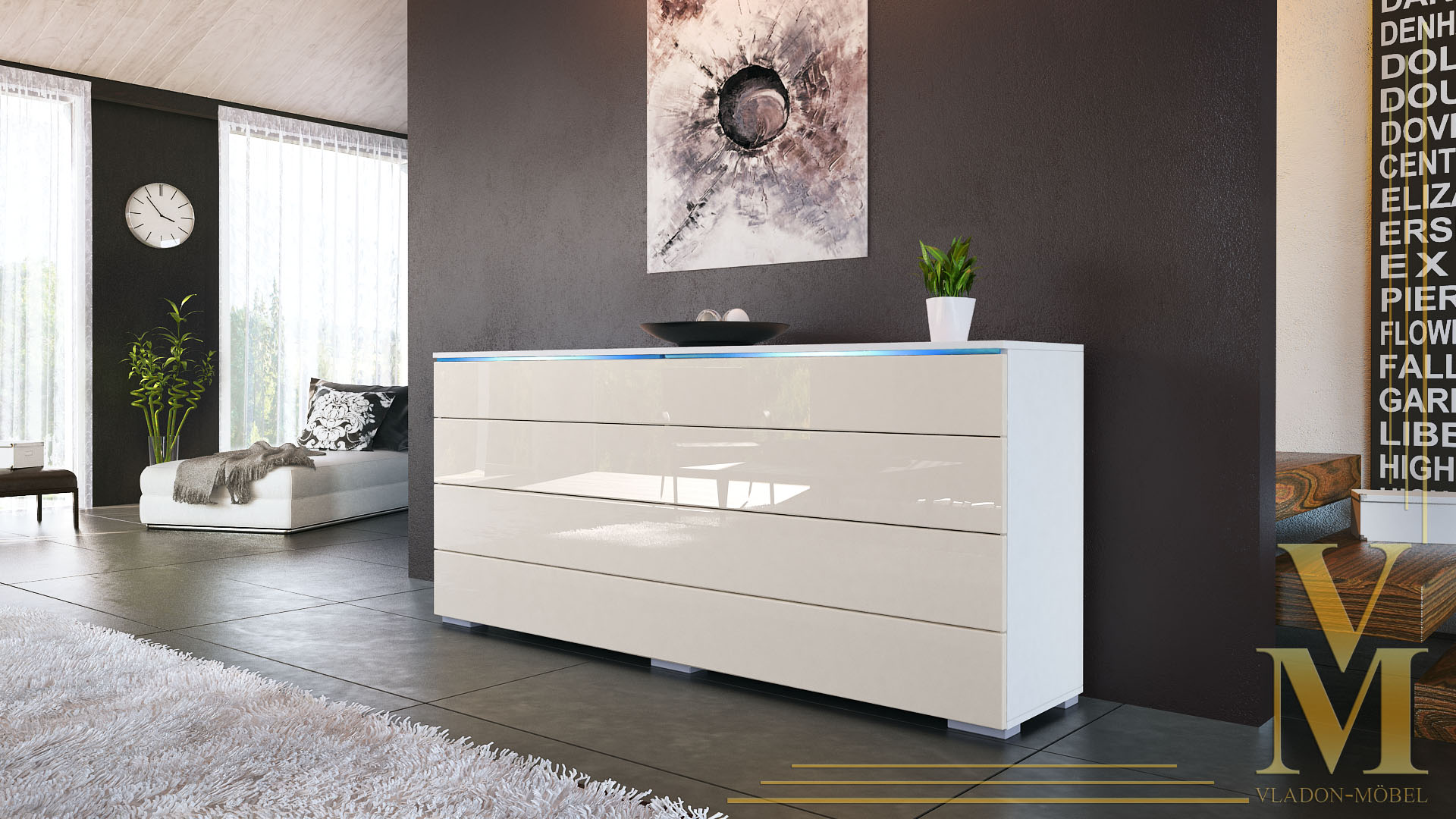 angebot sideboard kommode tv board schrank pl n wei hochglanz naturt ne ebay. Black Bedroom Furniture Sets. Home Design Ideas