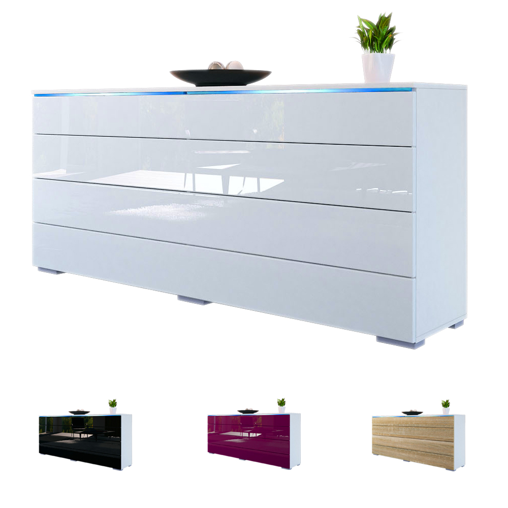 Sideboard kommode tv board schrank anrichte pl n wei for Sideboard kommode