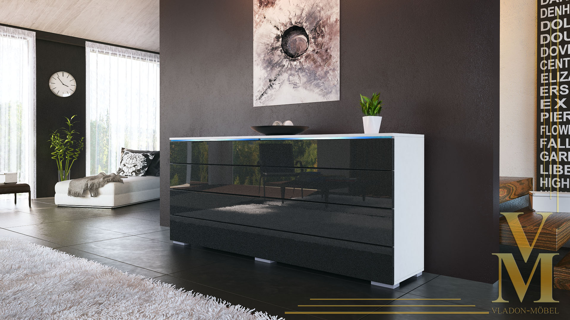 eck sideboard wei hochglanz great beautiful amazing kommode magic wei concret ca x x cm with. Black Bedroom Furniture Sets. Home Design Ideas
