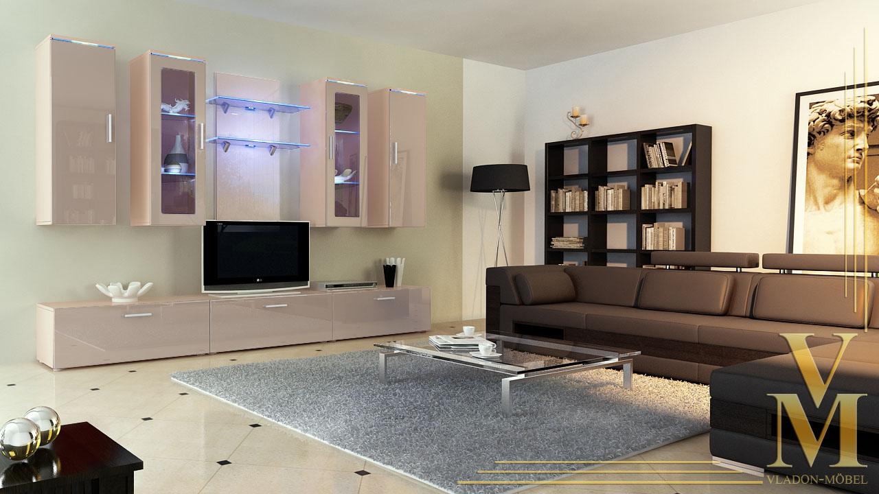 moderne anbauwand wohnwand schrankwand porta cappuccino hochglanz oder naturt ne. Black Bedroom Furniture Sets. Home Design Ideas