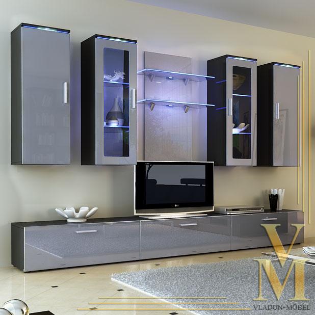 Wall Unit Living Room Furniture Porta In Black Grey Highgloss Ebay