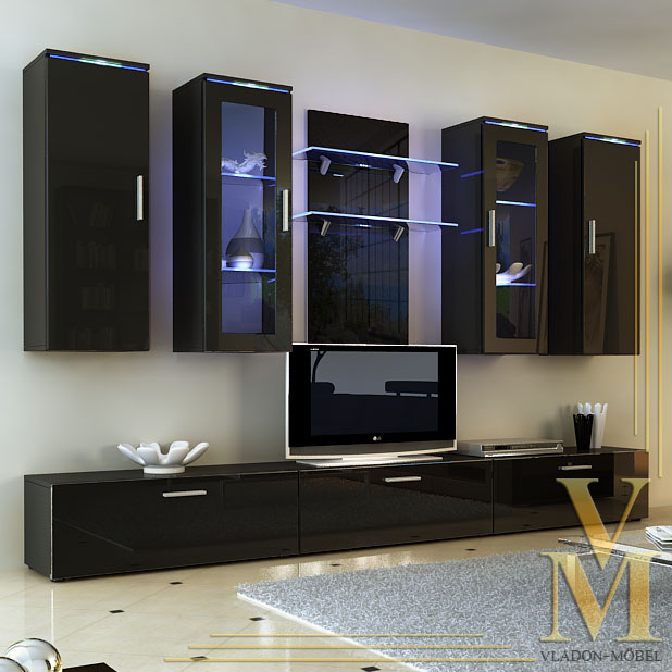 Wall Unit Living Room Furniture Porta In Black Black Highgloss Ebay