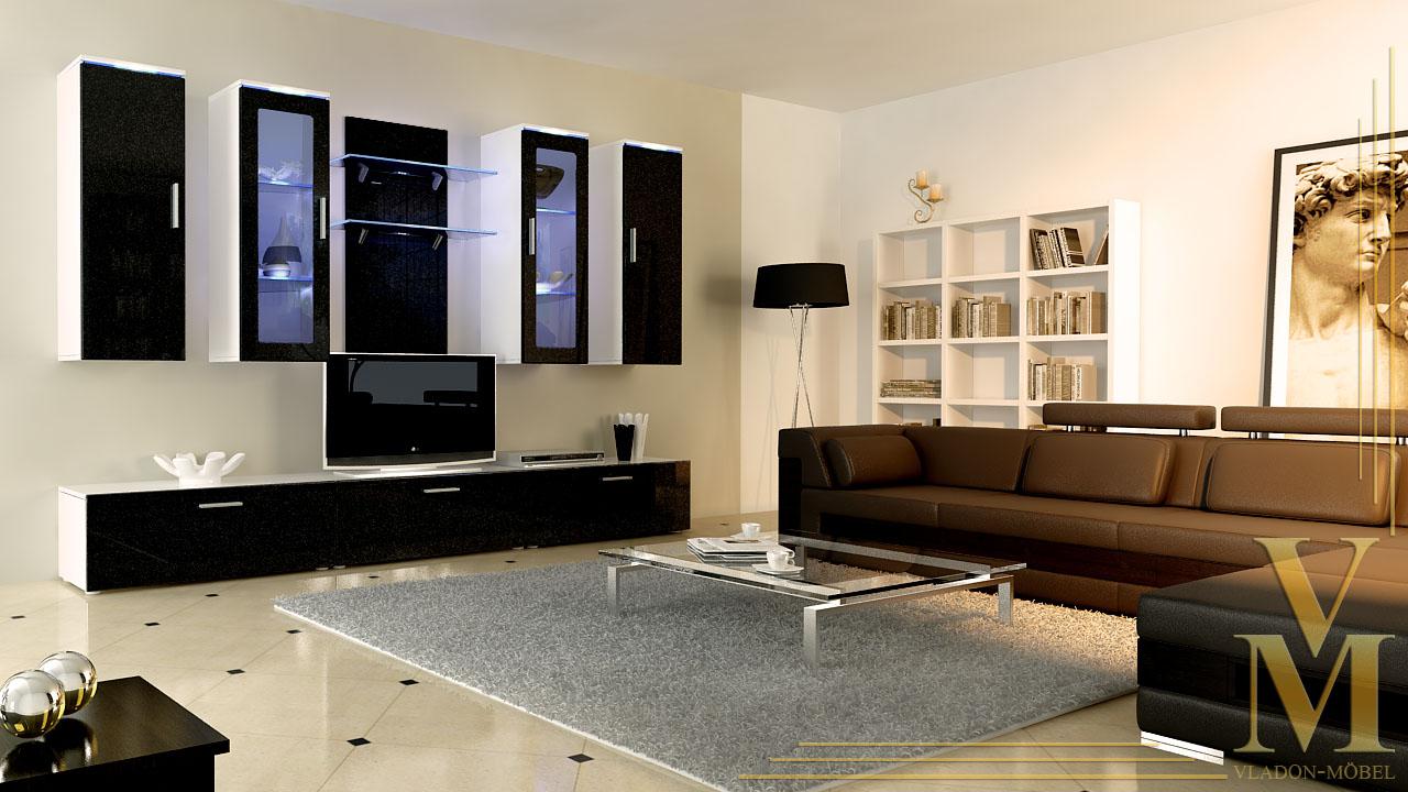 moderne anbauwand wohnwand schrankwand porta wei in hochglanz oder naturt nen ebay. Black Bedroom Furniture Sets. Home Design Ideas
