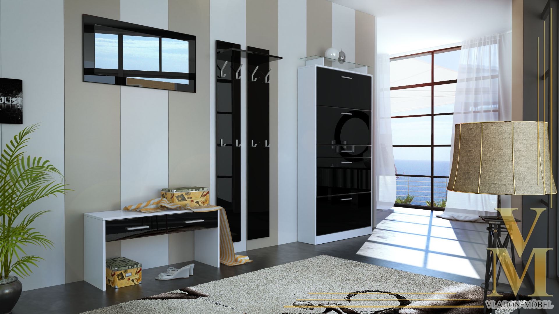 garderobenset rima wei schwarz hochglanz ebay. Black Bedroom Furniture Sets. Home Design Ideas
