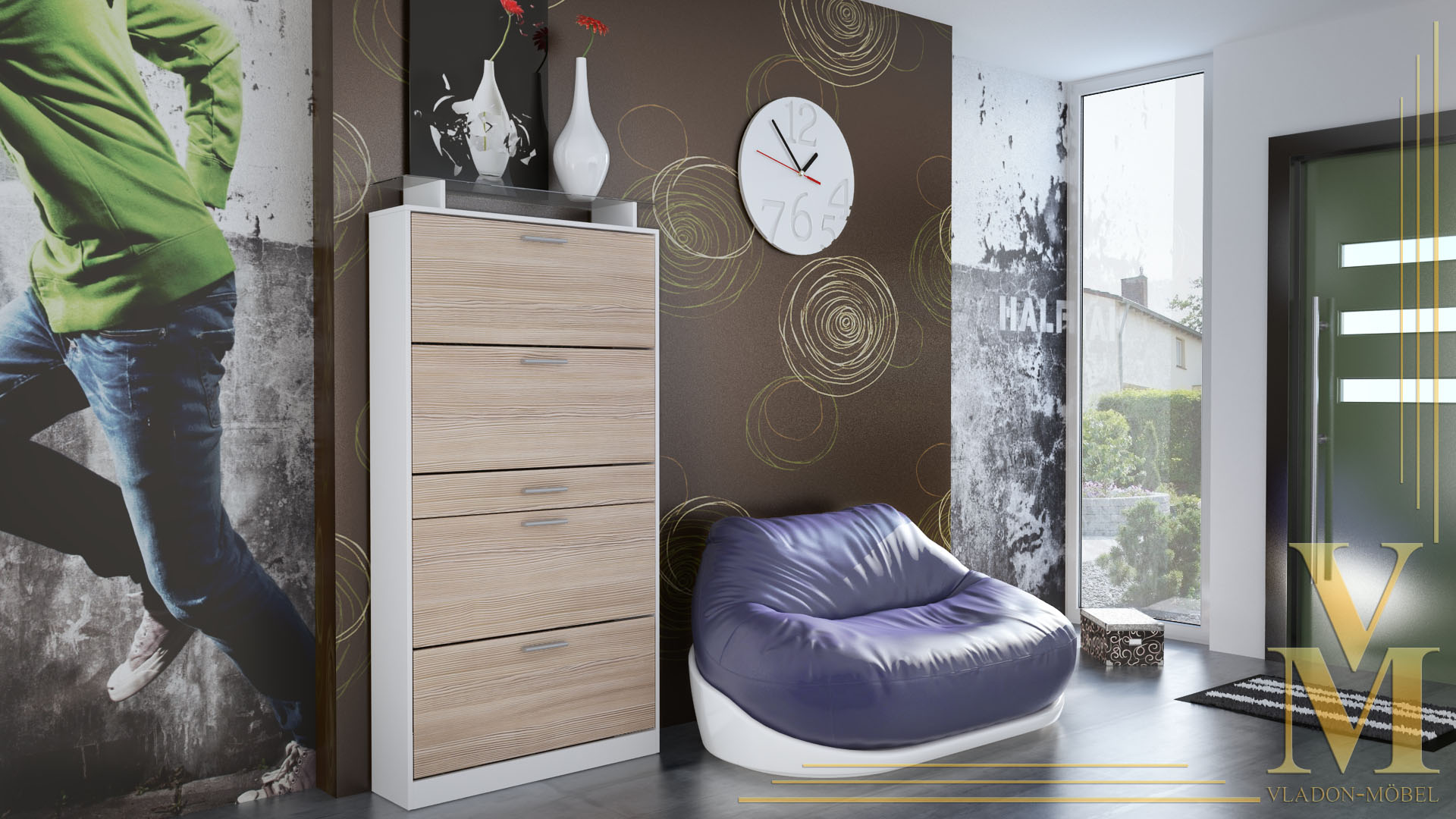 schuhschrank schuhkipper dielen flur schrank rima wei. Black Bedroom Furniture Sets. Home Design Ideas
