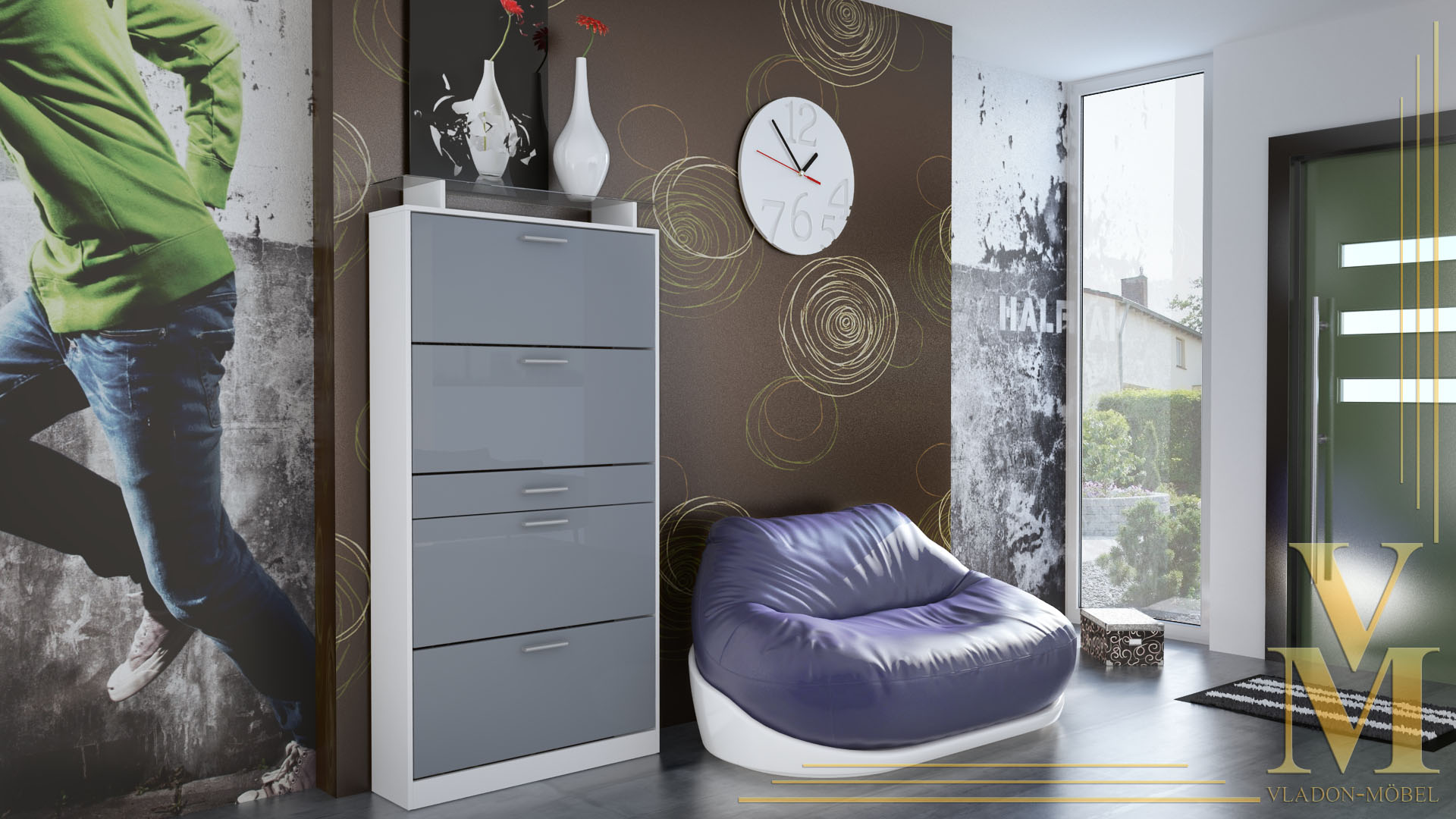 schuhschrank schuhkipper dielen flur schrank rima wei. Black Bedroom Furniture Sets. Home Design Ideas