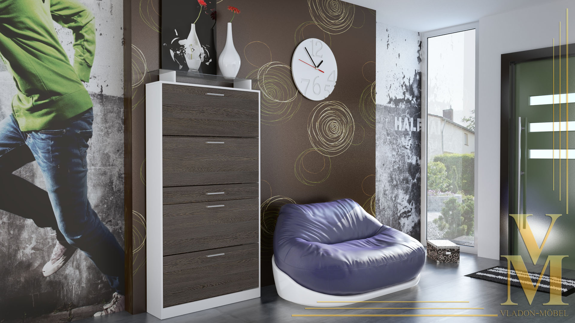 schuhschrank schuhkipper dielen flur schrank rima wei hochglanz naturt ne ebay. Black Bedroom Furniture Sets. Home Design Ideas