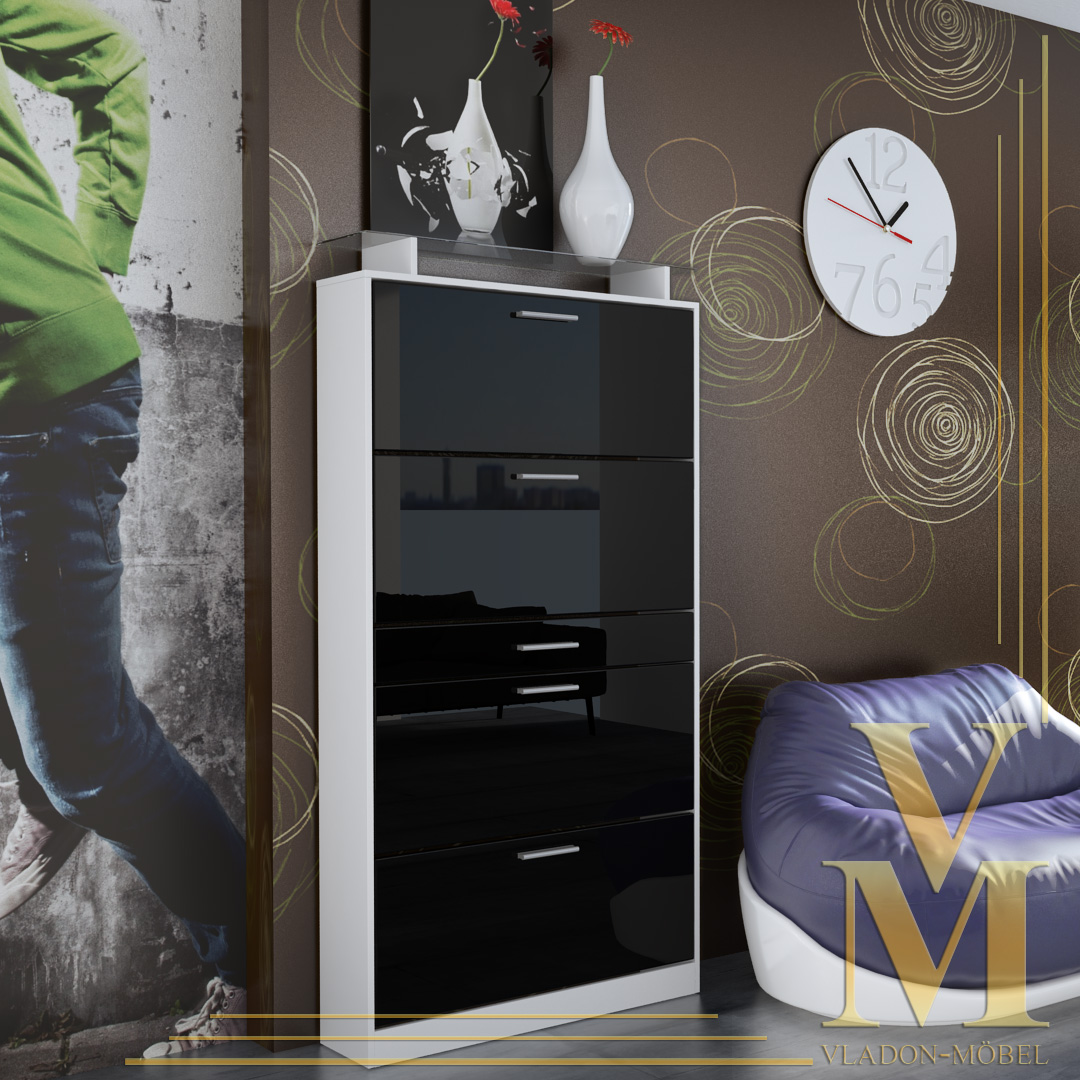 schuhschrank schuhkipper rima wei schwarz hochglanz ebay. Black Bedroom Furniture Sets. Home Design Ideas