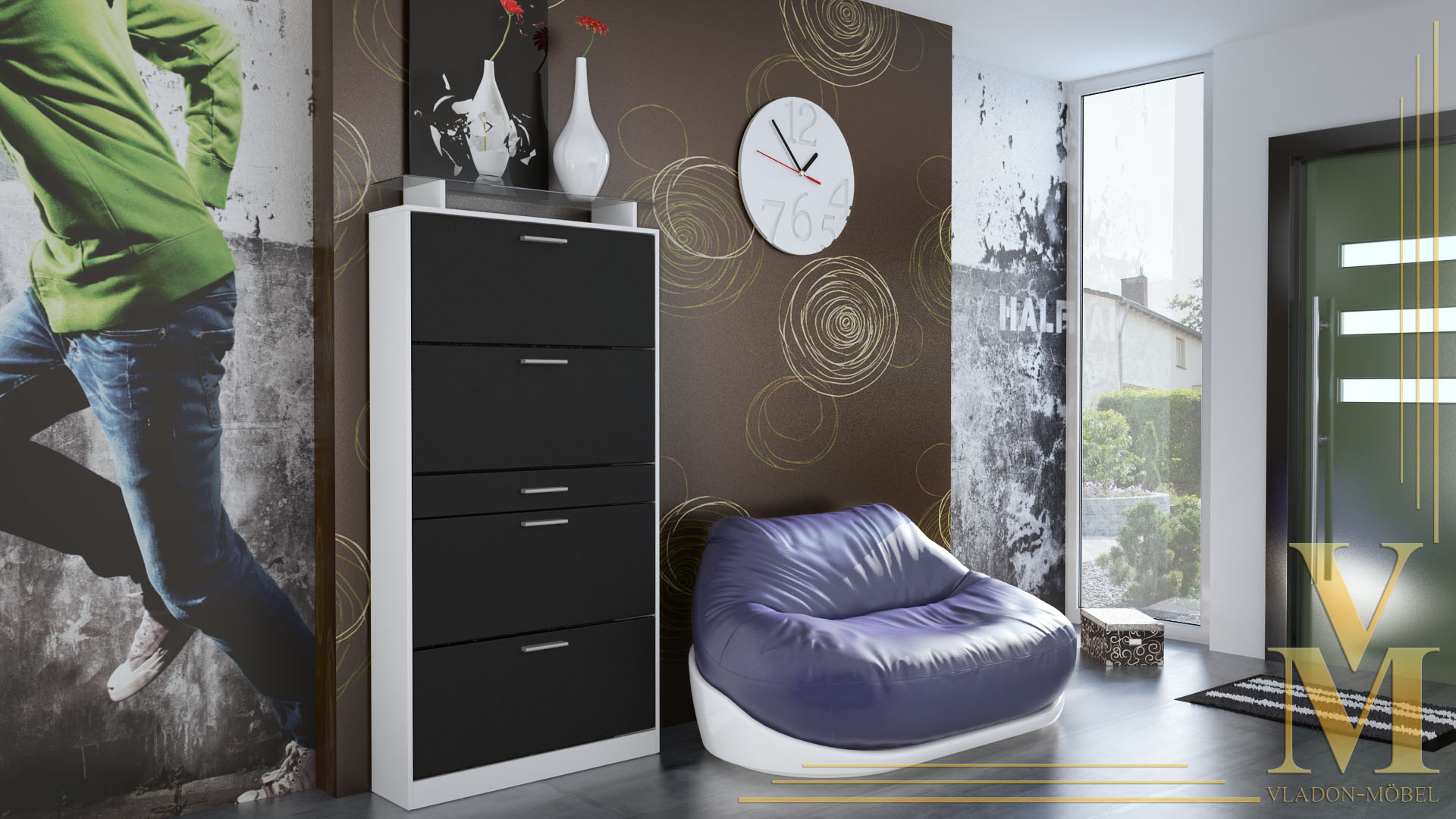 schuhschrank schuhkipper dielen flur schrank rima wei hochglanz naturt ne ebay. Black Bedroom Furniture Sets. Home Design Ideas