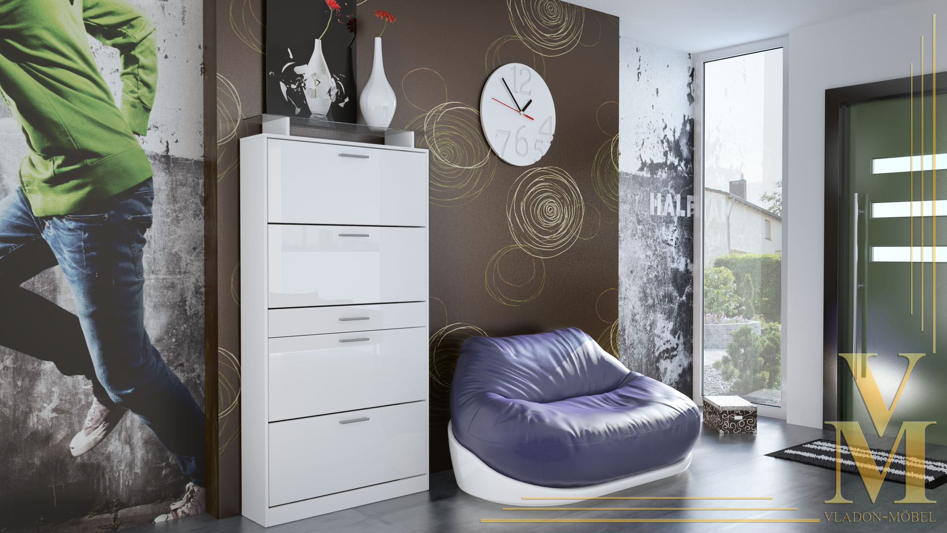 schuhschrank schuhkipper rima wei wei hochglanz ebay. Black Bedroom Furniture Sets. Home Design Ideas