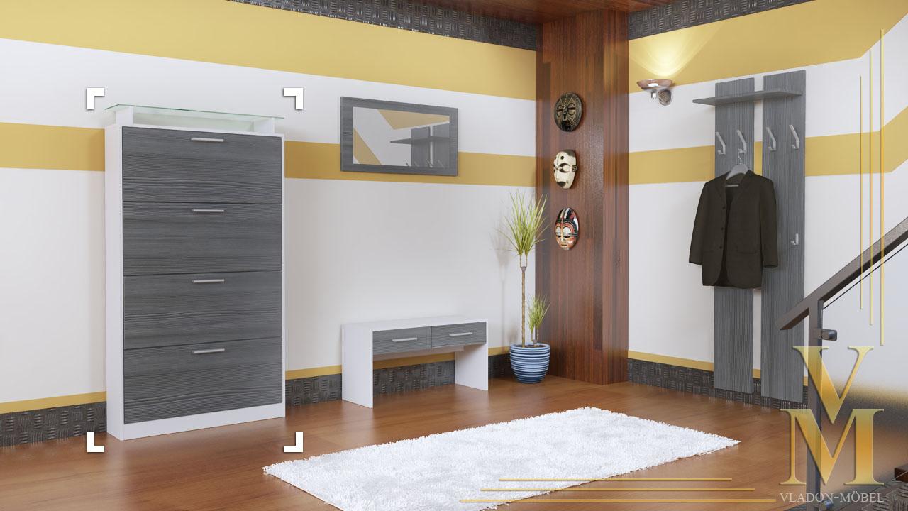 schuhschrank schuhkipper dielen flur schrank rima v2 wei hochglanz naturt ne. Black Bedroom Furniture Sets. Home Design Ideas