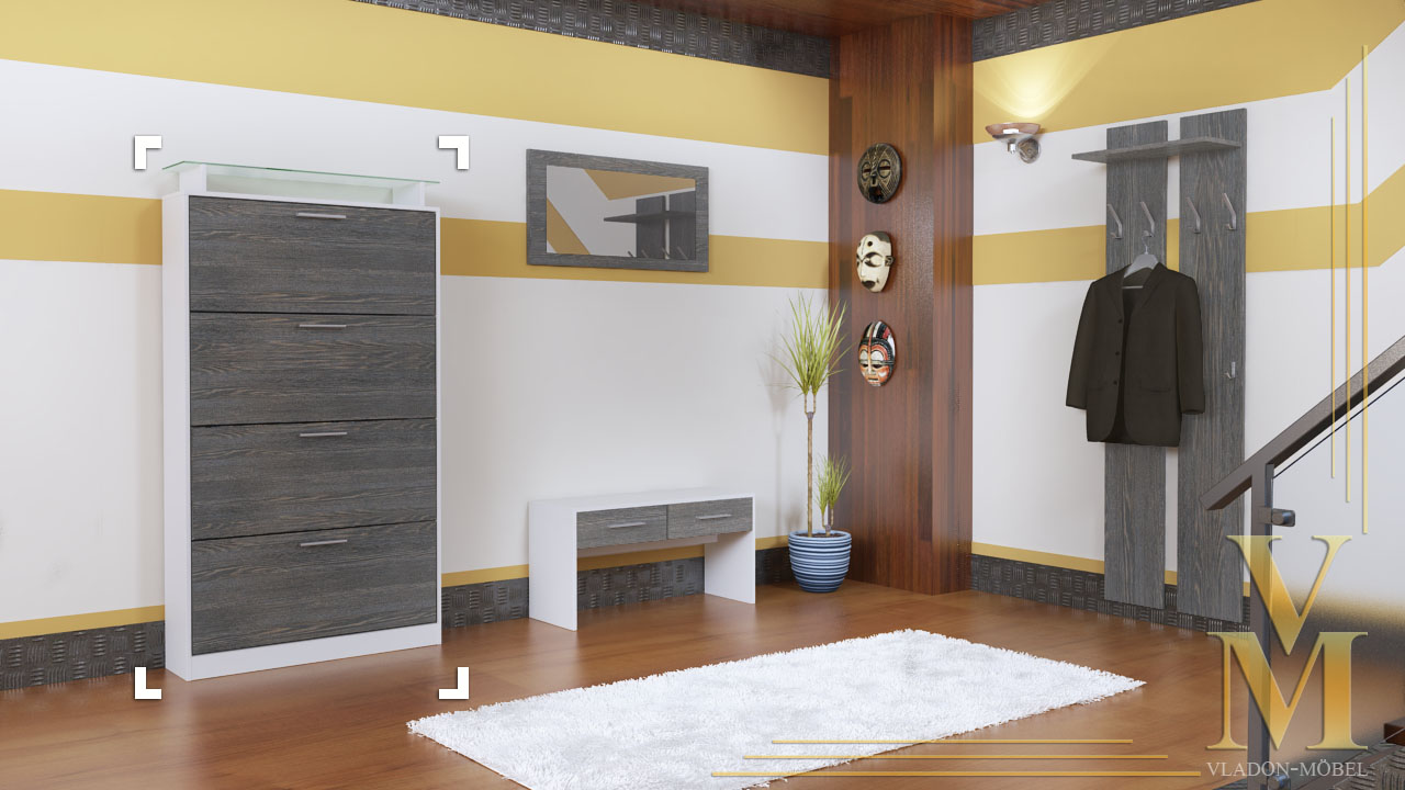 schuhschrank schuhkipper dielen flur schrank rima v2 wei hochglanz naturt ne ebay. Black Bedroom Furniture Sets. Home Design Ideas