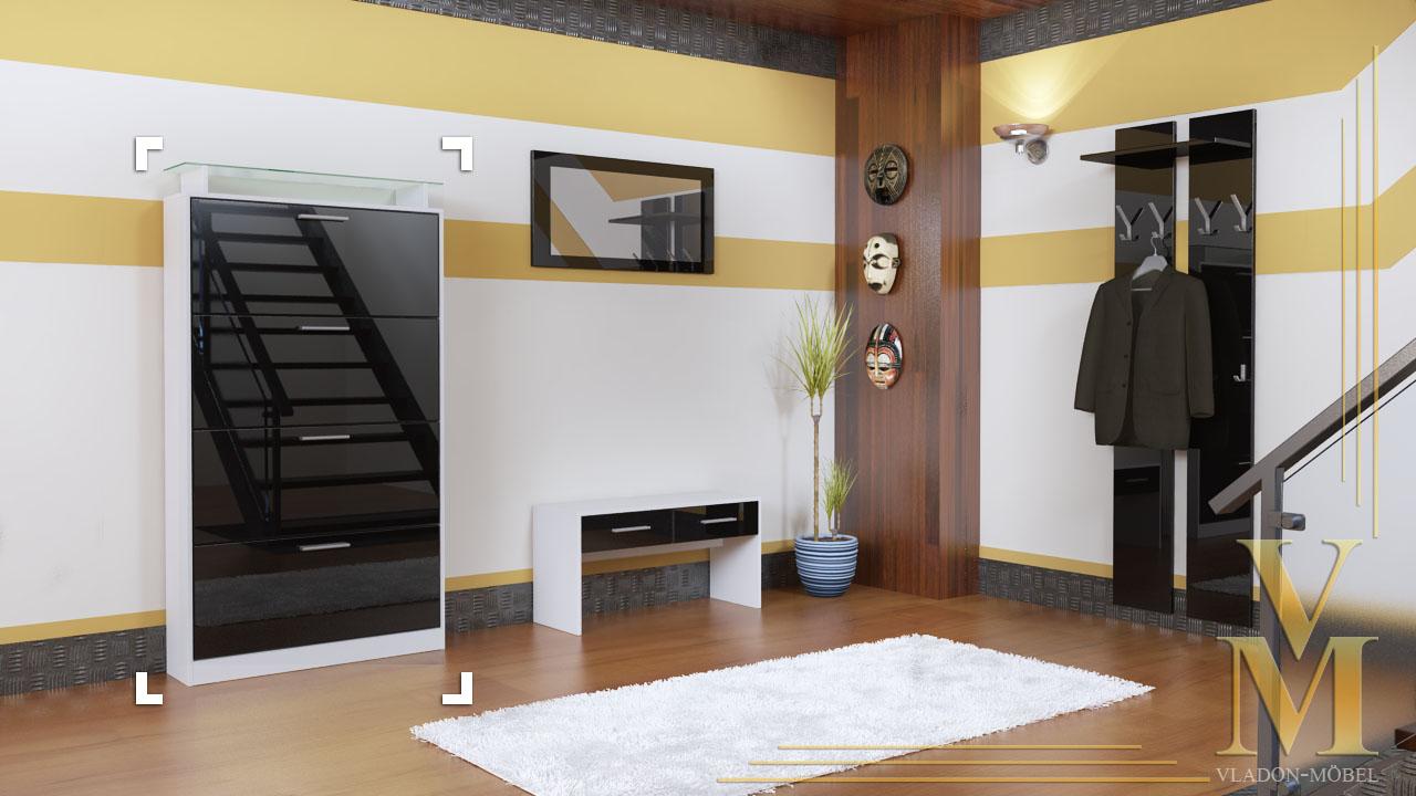 shoe cabinet rima v2 in white black high gloss ebay. Black Bedroom Furniture Sets. Home Design Ideas
