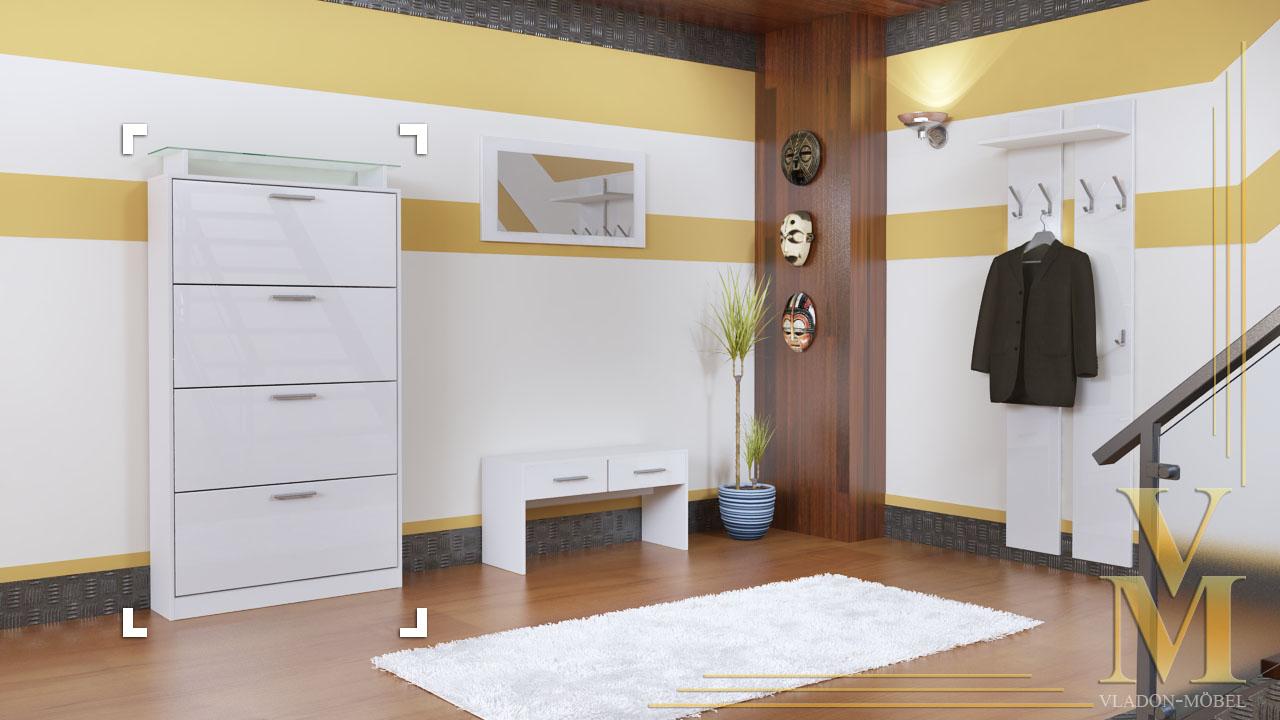 schuhschrank schuhkipper dielen flur schrank rima v2 wei. Black Bedroom Furniture Sets. Home Design Ideas
