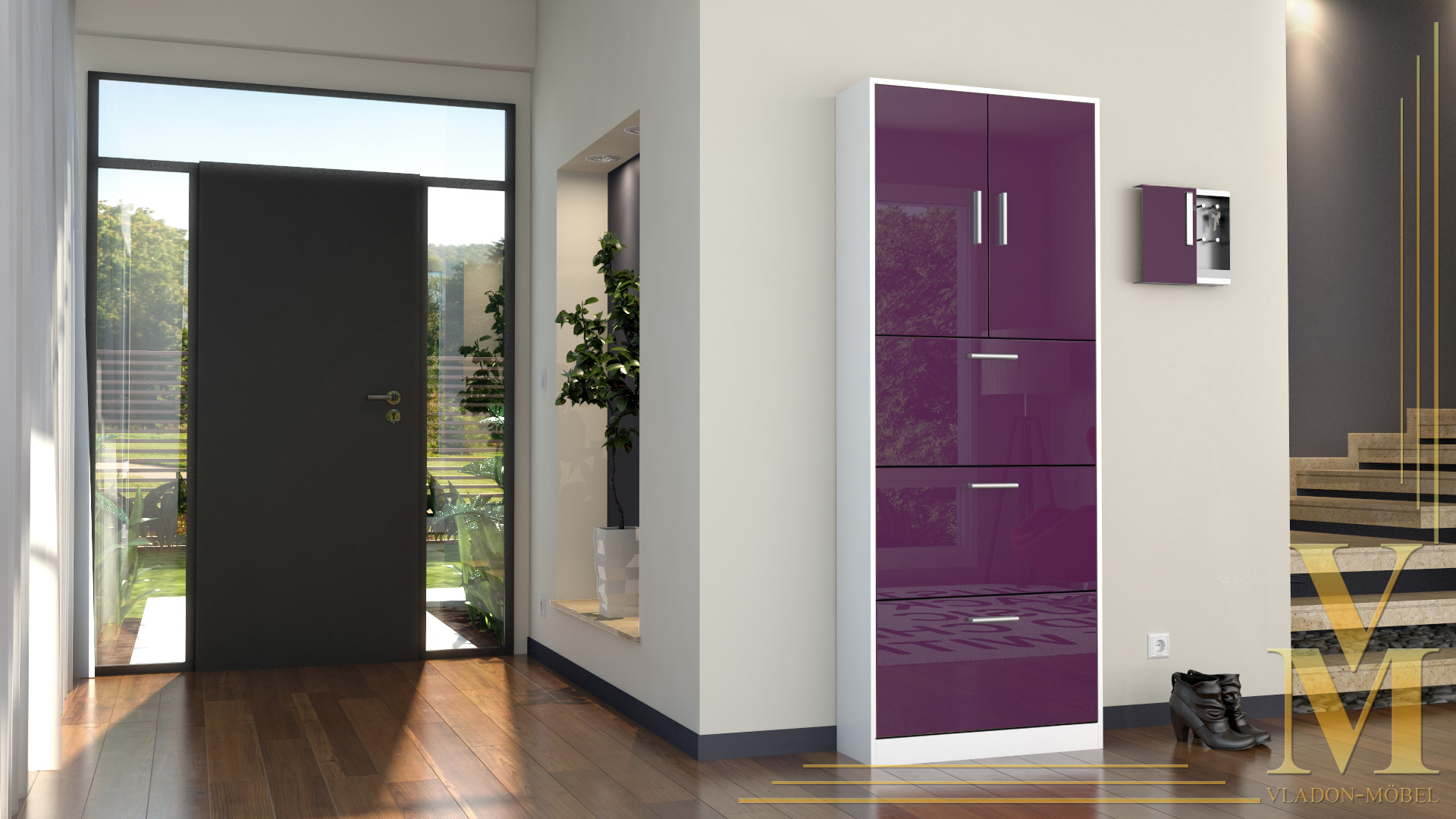 schuhschrank schuhkipper rista in wei brombeer hochglanz ebay. Black Bedroom Furniture Sets. Home Design Ideas