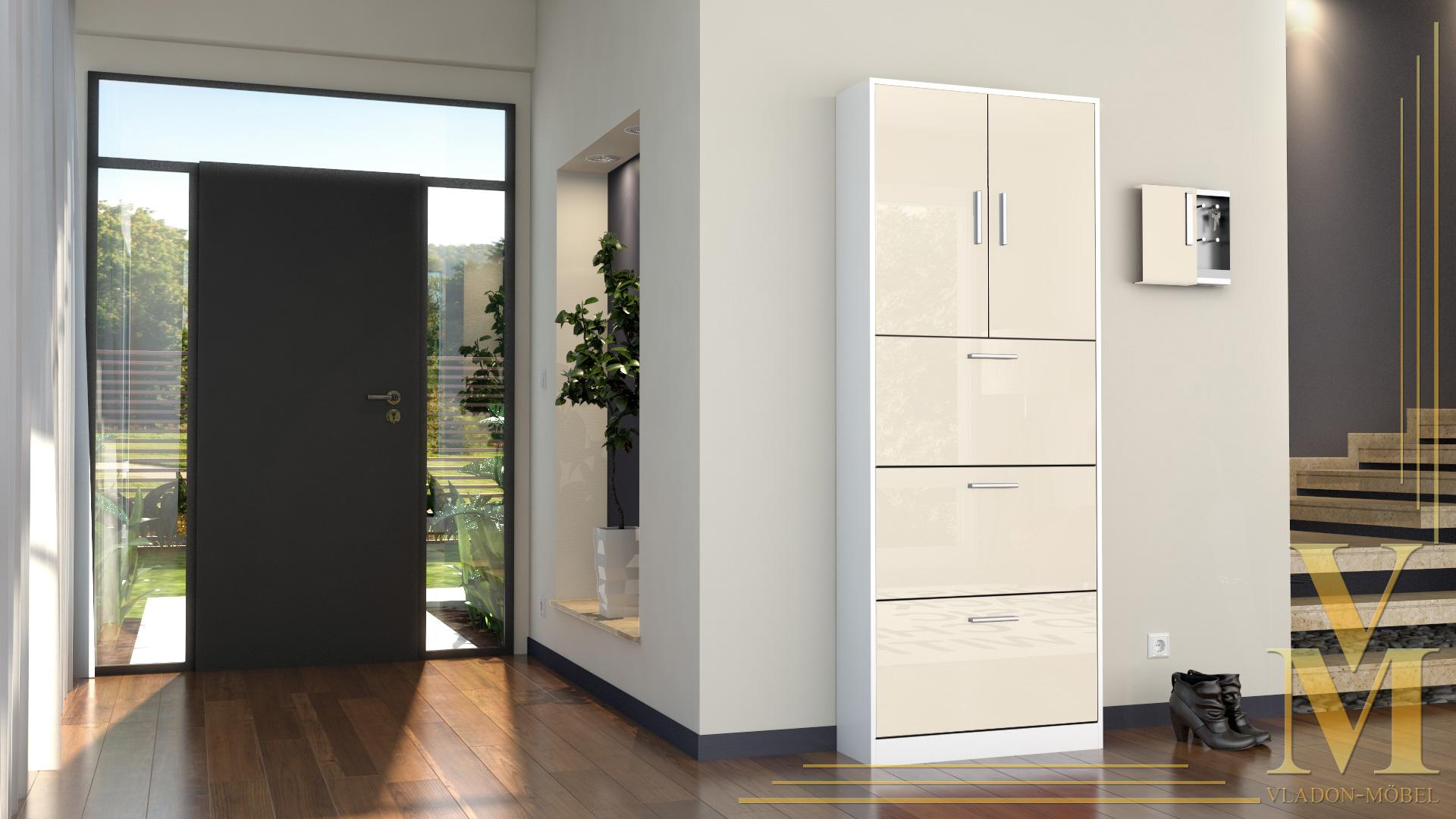 schuhschrank schuhkipper dielen flur schrank rista wei hochglanz naturt ne ebay. Black Bedroom Furniture Sets. Home Design Ideas