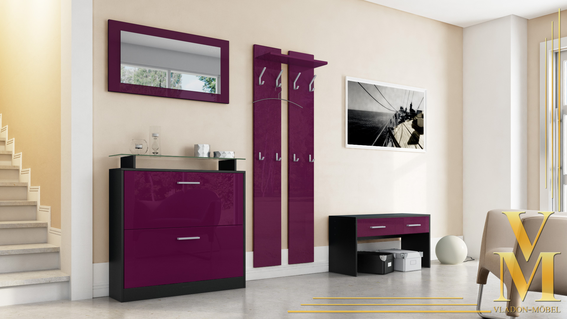garderobenset flur garderobe dielenset roma in schwarz hochglanz naturtoene ebay. Black Bedroom Furniture Sets. Home Design Ideas