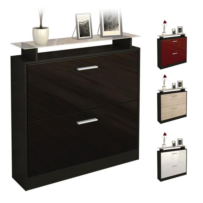 schuhschrank schuhkipper dielen flur schrank roma schwarz hochglanz naturt ne ebay. Black Bedroom Furniture Sets. Home Design Ideas