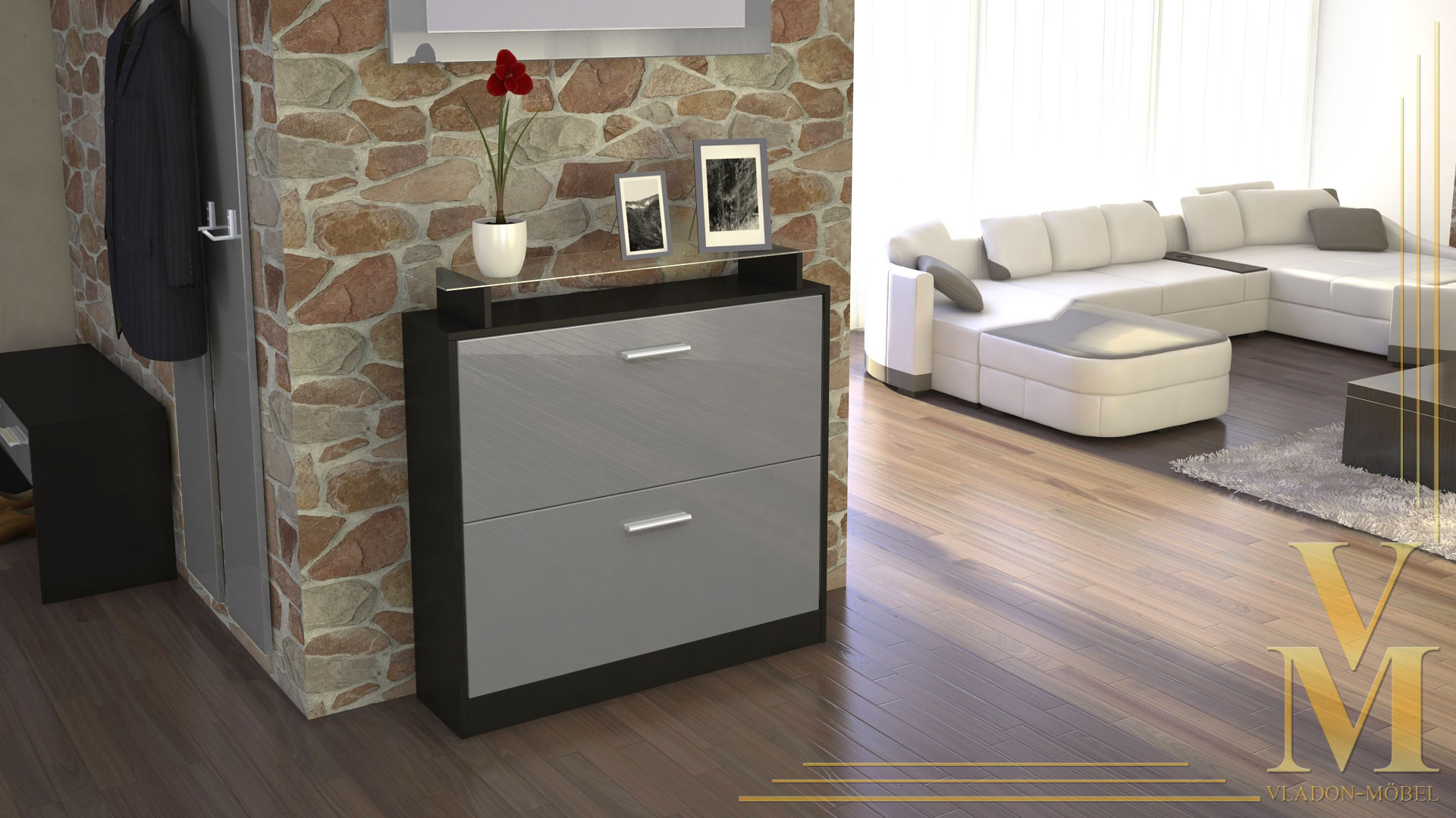 schuhschrank schuhkipper dielen flur schrank roma schwarz hochglanz naturt ne ebay. Black Bedroom Furniture Sets. Home Design Ideas