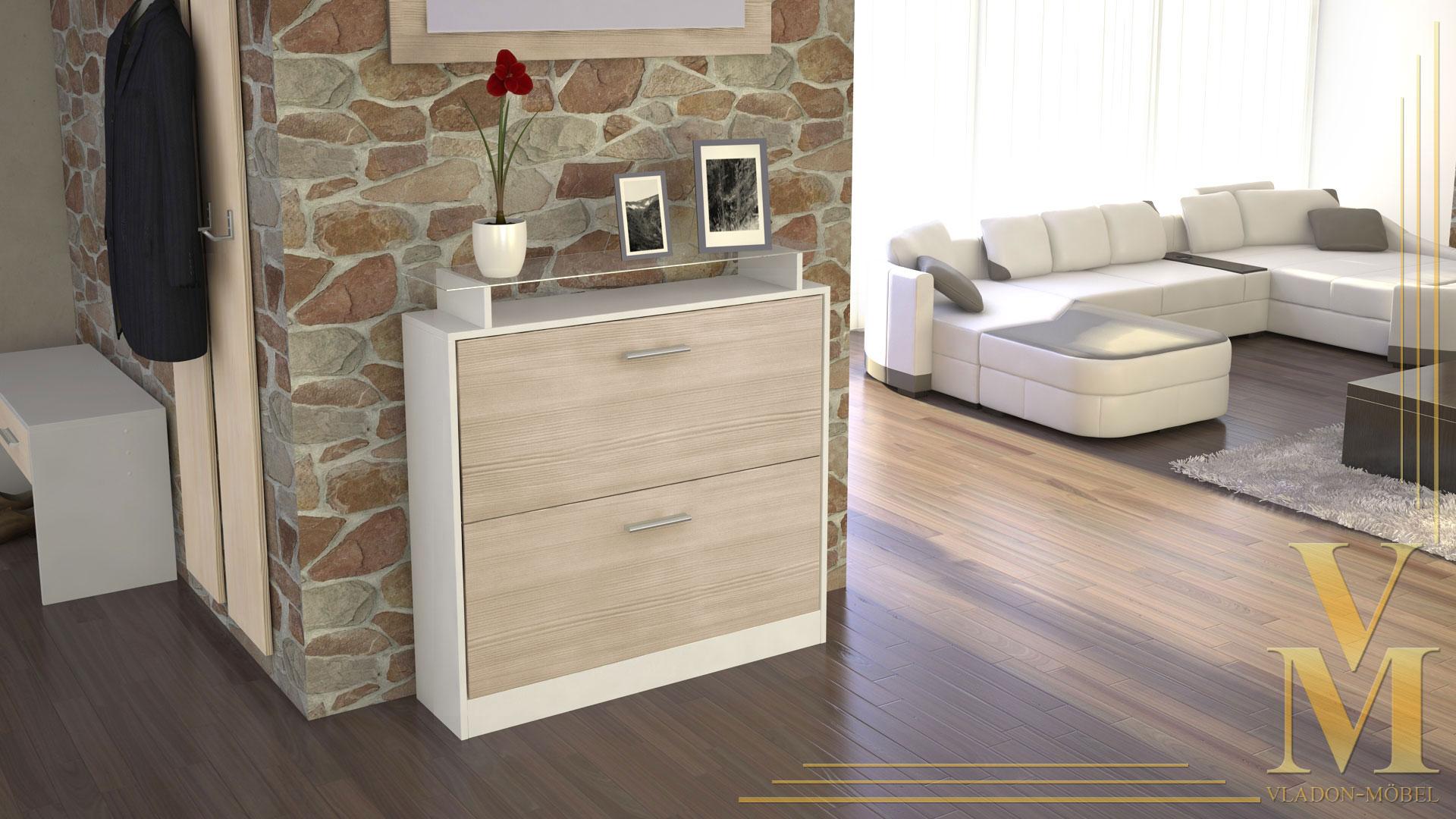 schuhschrank schuhkipper dielen flur schrank roma wei hochglanz naturt ne ebay. Black Bedroom Furniture Sets. Home Design Ideas