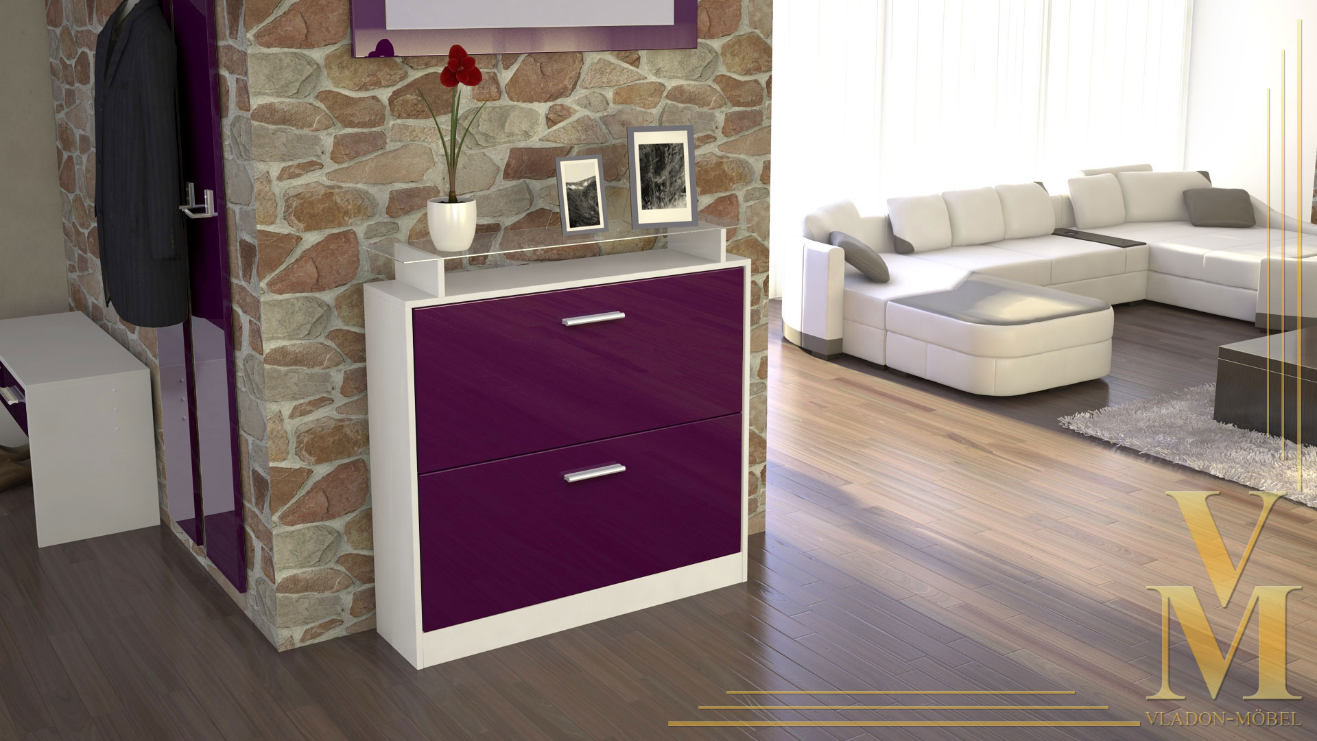 schuhschrank schuhkipper dielen flur schrank roma wei hochglanz naturt ne ebay. Black Bedroom Furniture Sets. Home Design Ideas