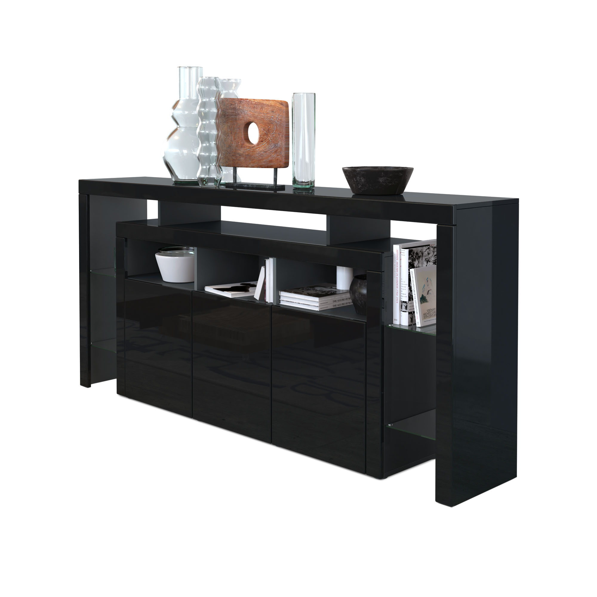 sideboard kommode anrichte highboard rosario 192 wei schwarz hochglanz beton ebay. Black Bedroom Furniture Sets. Home Design Ideas