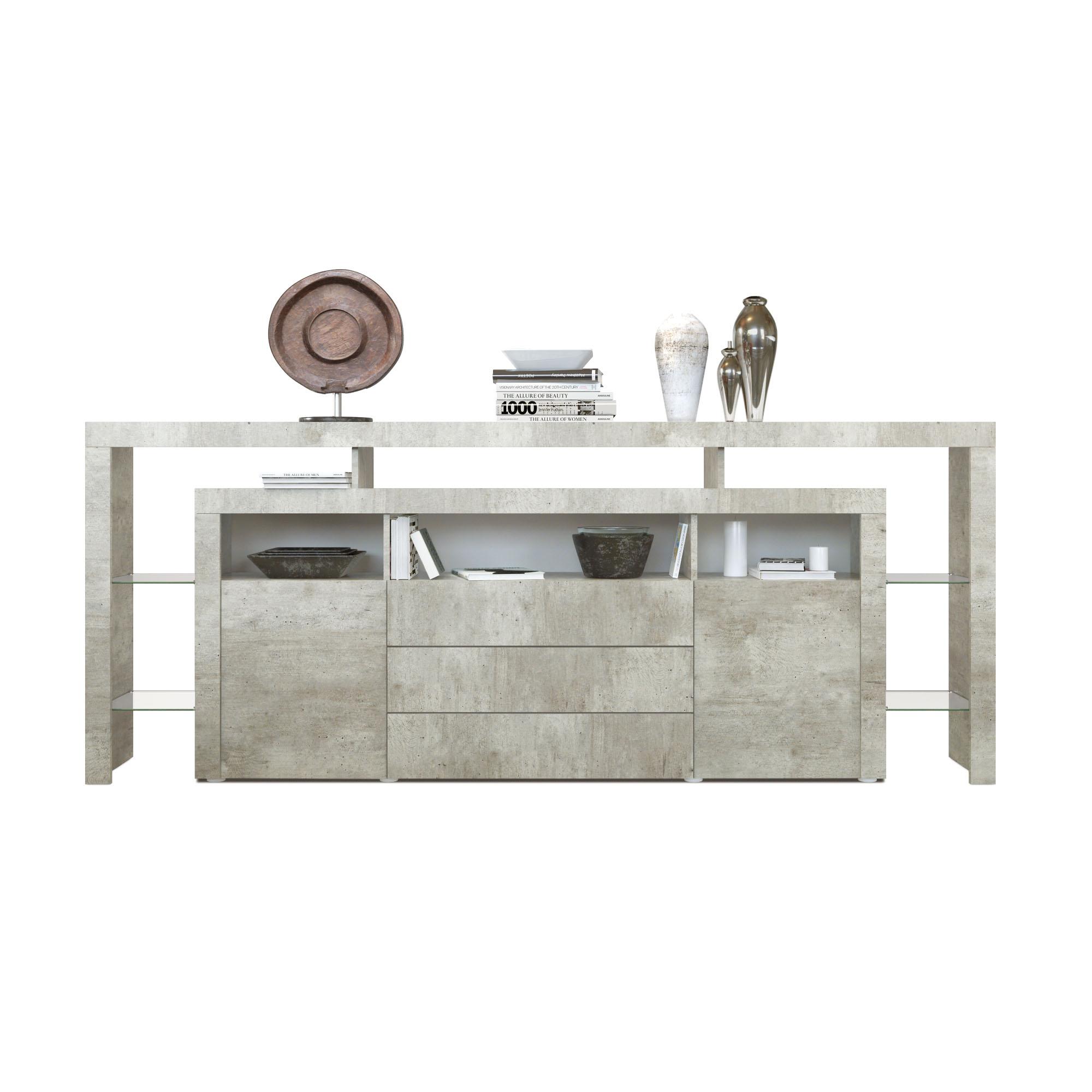 sideboard kommode anrichte highboard rosario 220 wei schwarz hochglanz beton. Black Bedroom Furniture Sets. Home Design Ideas