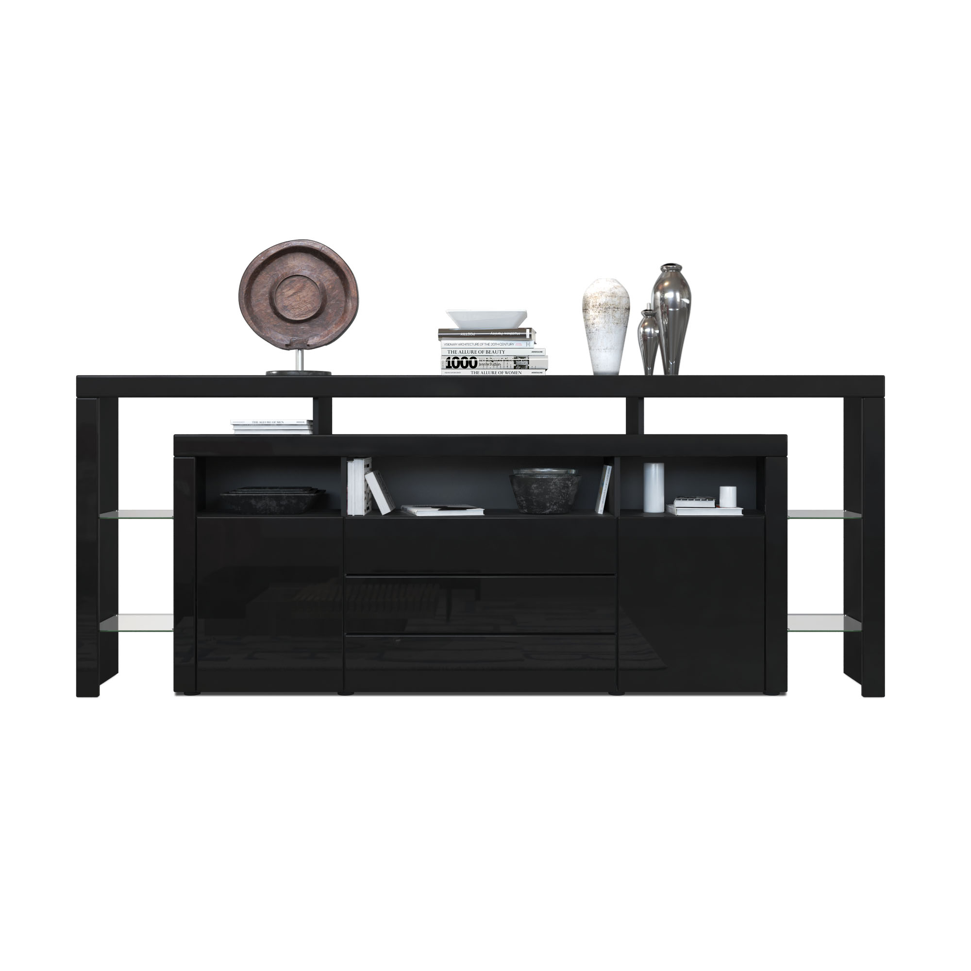 sideboard kommode anrichte highboard rosario 220 wei schwarz hochglanz beton. Black Bedroom Furniture Sets. Home Design Ideas