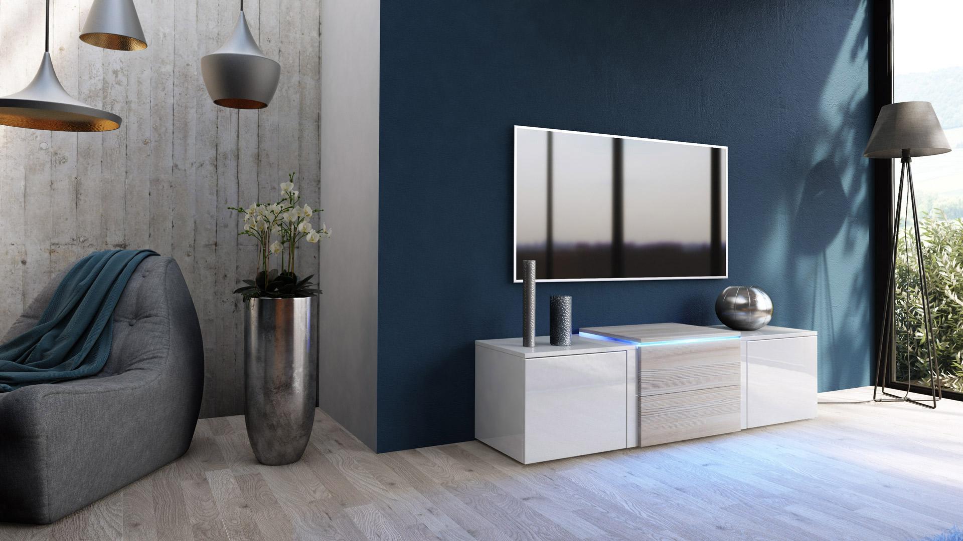 tv lowboard board schrank tisch m bel salina wei hochglanz naturt ne. Black Bedroom Furniture Sets. Home Design Ideas