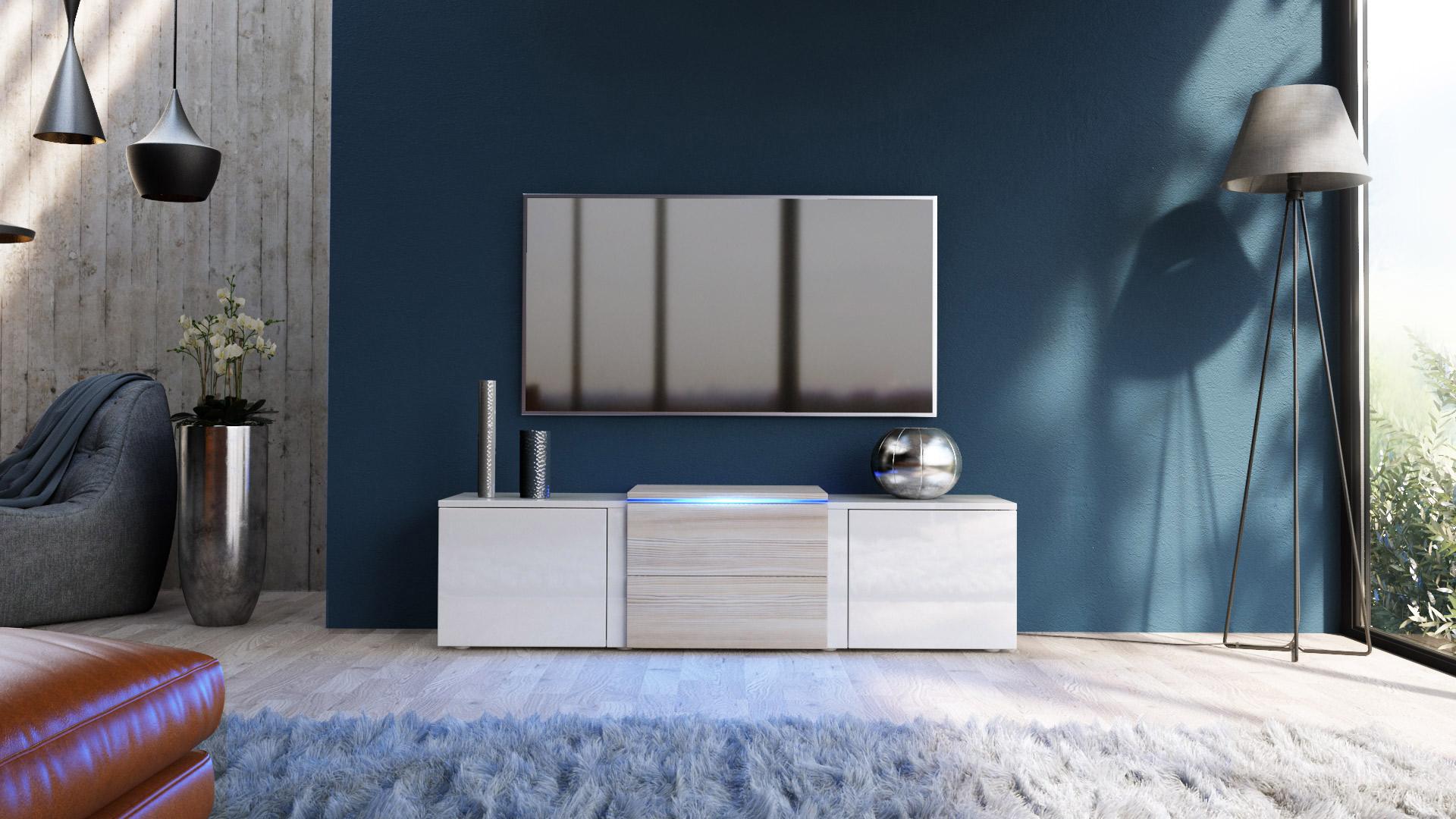 tv lowboard board schrank tisch m bel salina wei hochglanz naturt ne ebay. Black Bedroom Furniture Sets. Home Design Ideas