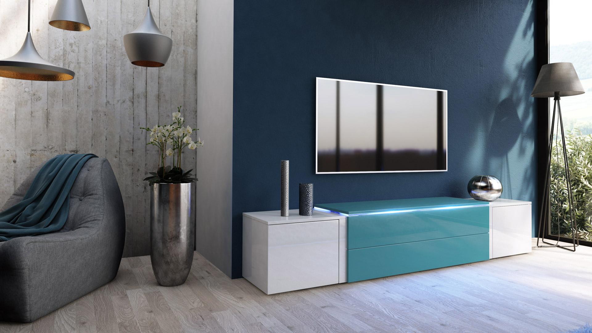 Tv unit stand cabinet sideboard salina v3 white high for Sideboard petrol