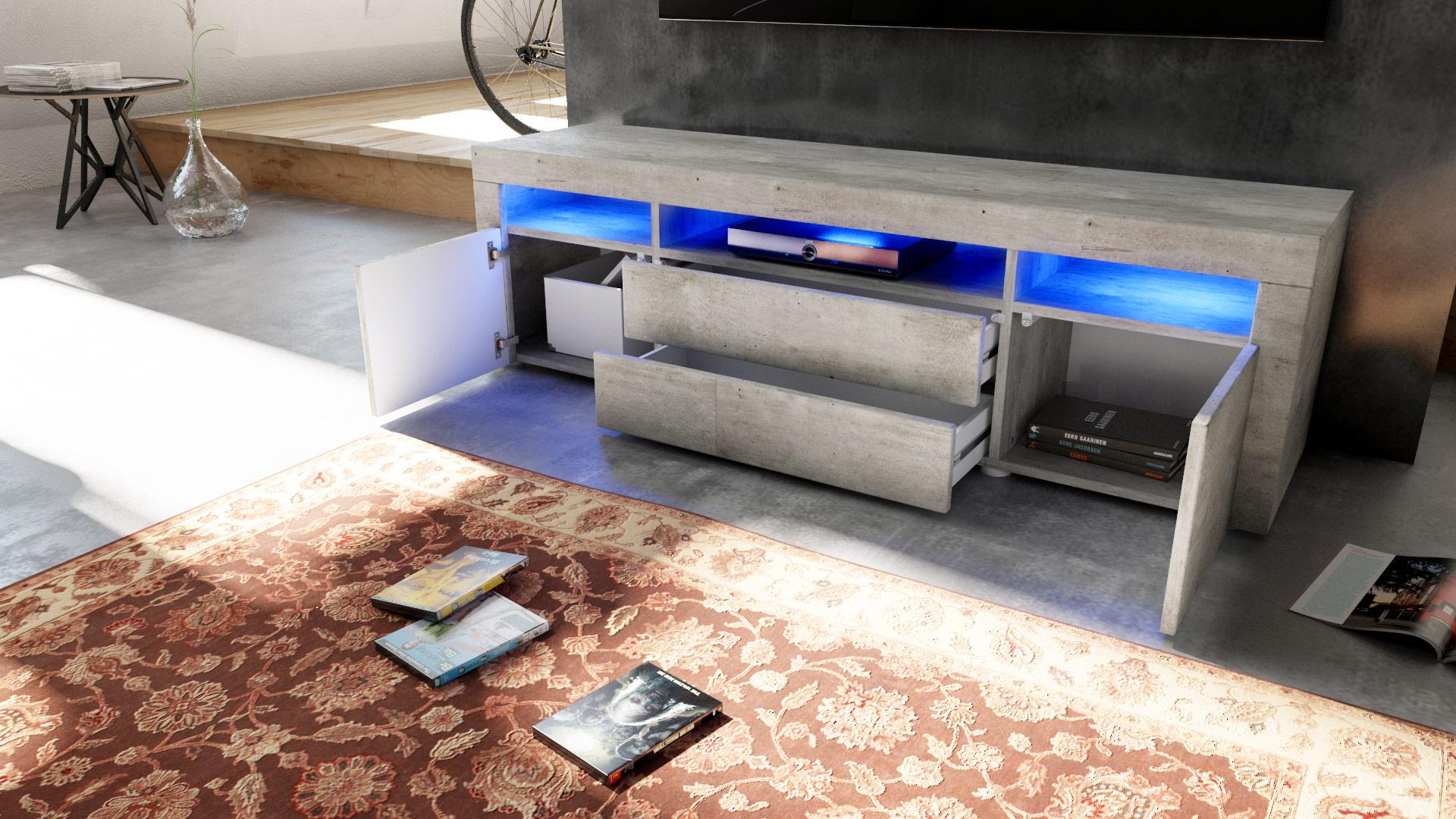 tv stand board unit lowboard rack santa fe 166cm in concrete grey ebay. Black Bedroom Furniture Sets. Home Design Ideas