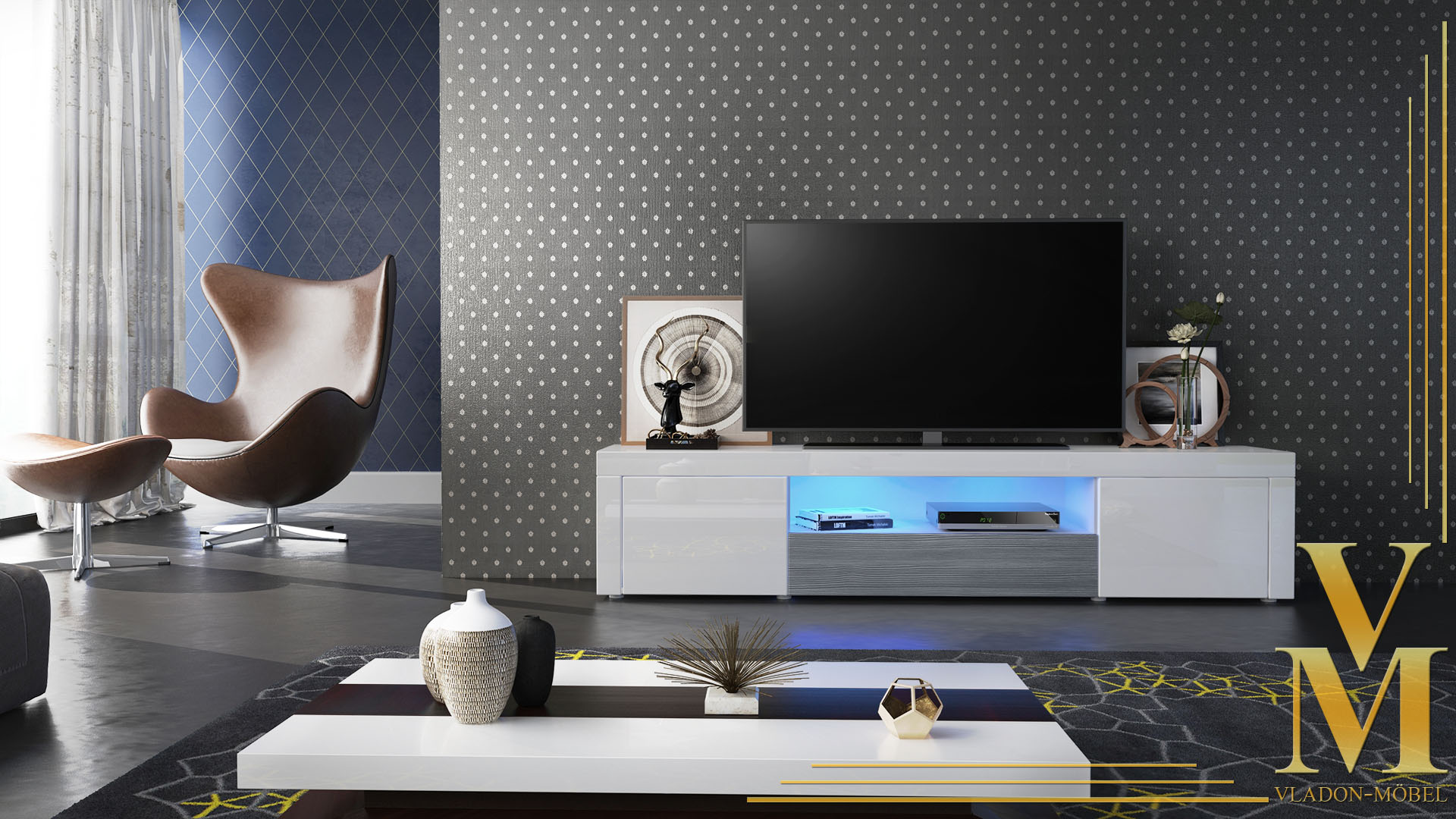 tv lowboard board schrank tisch m bel santiago wei. Black Bedroom Furniture Sets. Home Design Ideas