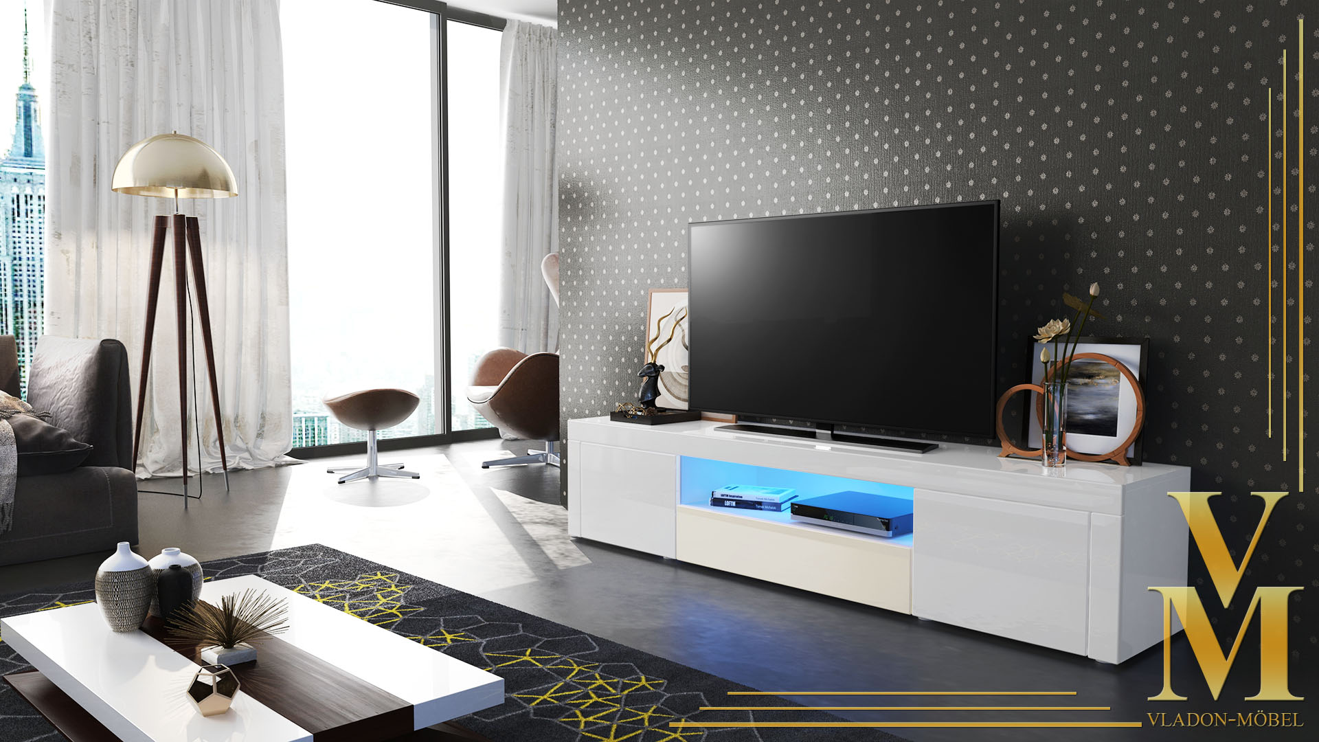 tv unit stand cabinet santiago in white high gloss. Black Bedroom Furniture Sets. Home Design Ideas