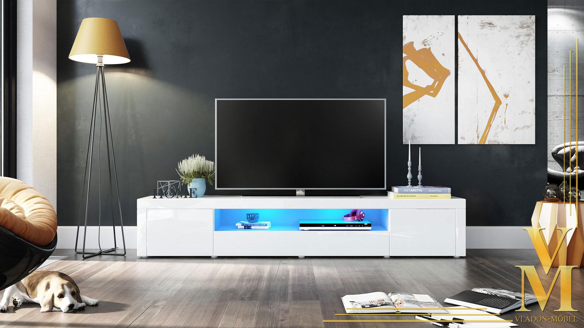 tv lowboard board schrank tisch m bel santiago v2 wei hochglanz. Black Bedroom Furniture Sets. Home Design Ideas