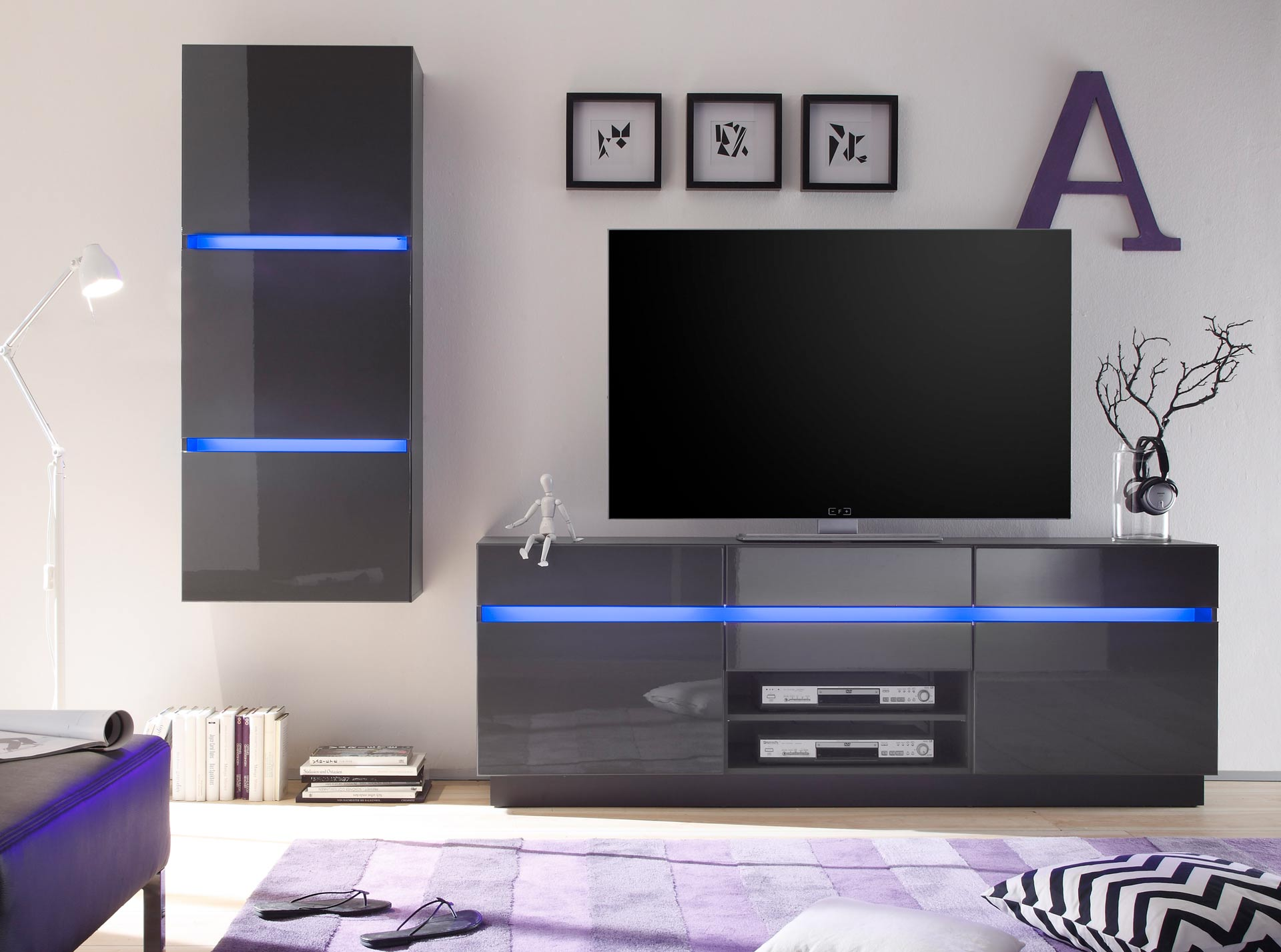tv lowboard schrank wohnwand m bel scaleo v6 in wei oder anthrazit hochglanz ebay. Black Bedroom Furniture Sets. Home Design Ideas