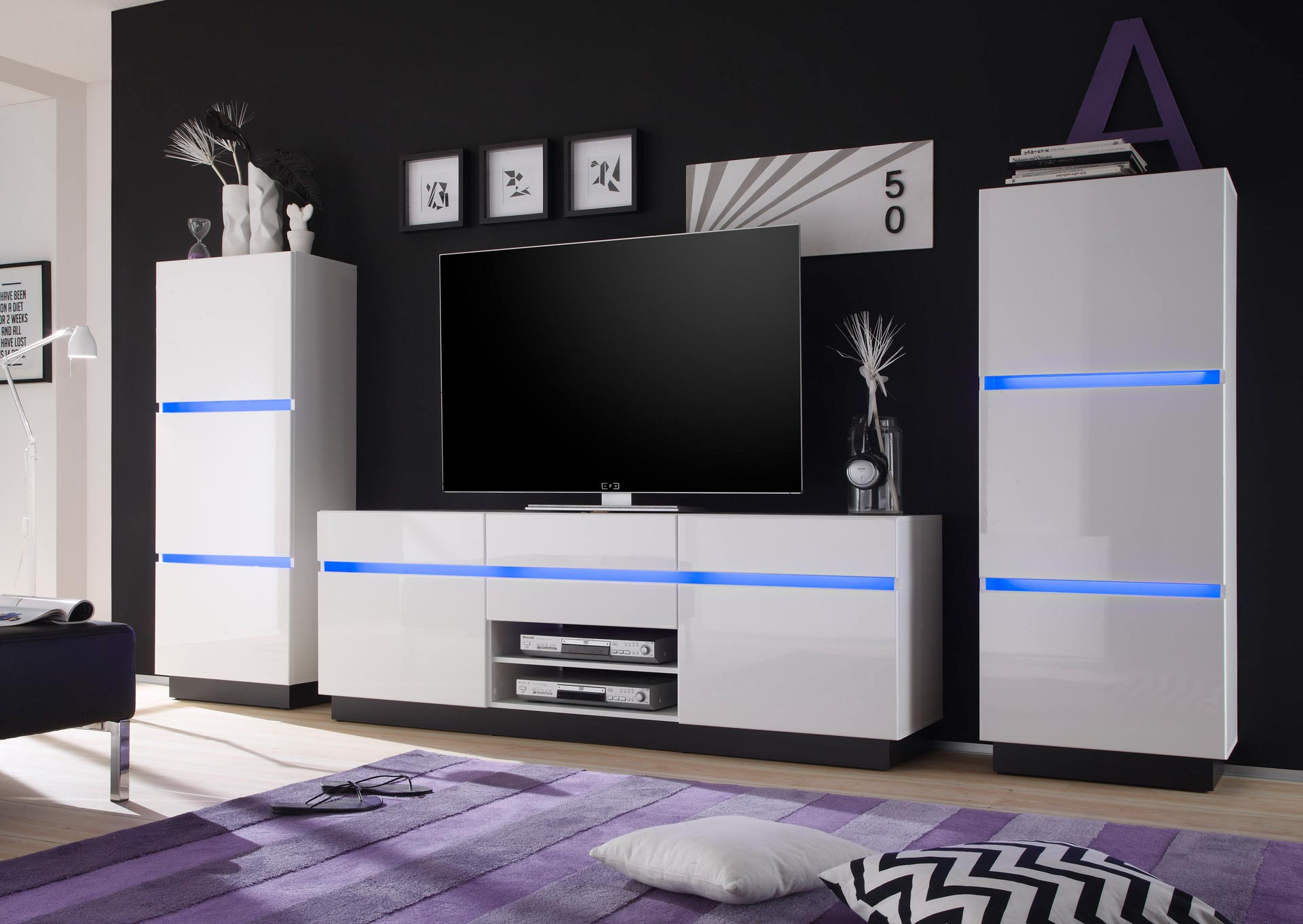 tv lowboard cabinet living wall furniture scaleo v6 in white or anthracite high gloss ebay. Black Bedroom Furniture Sets. Home Design Ideas