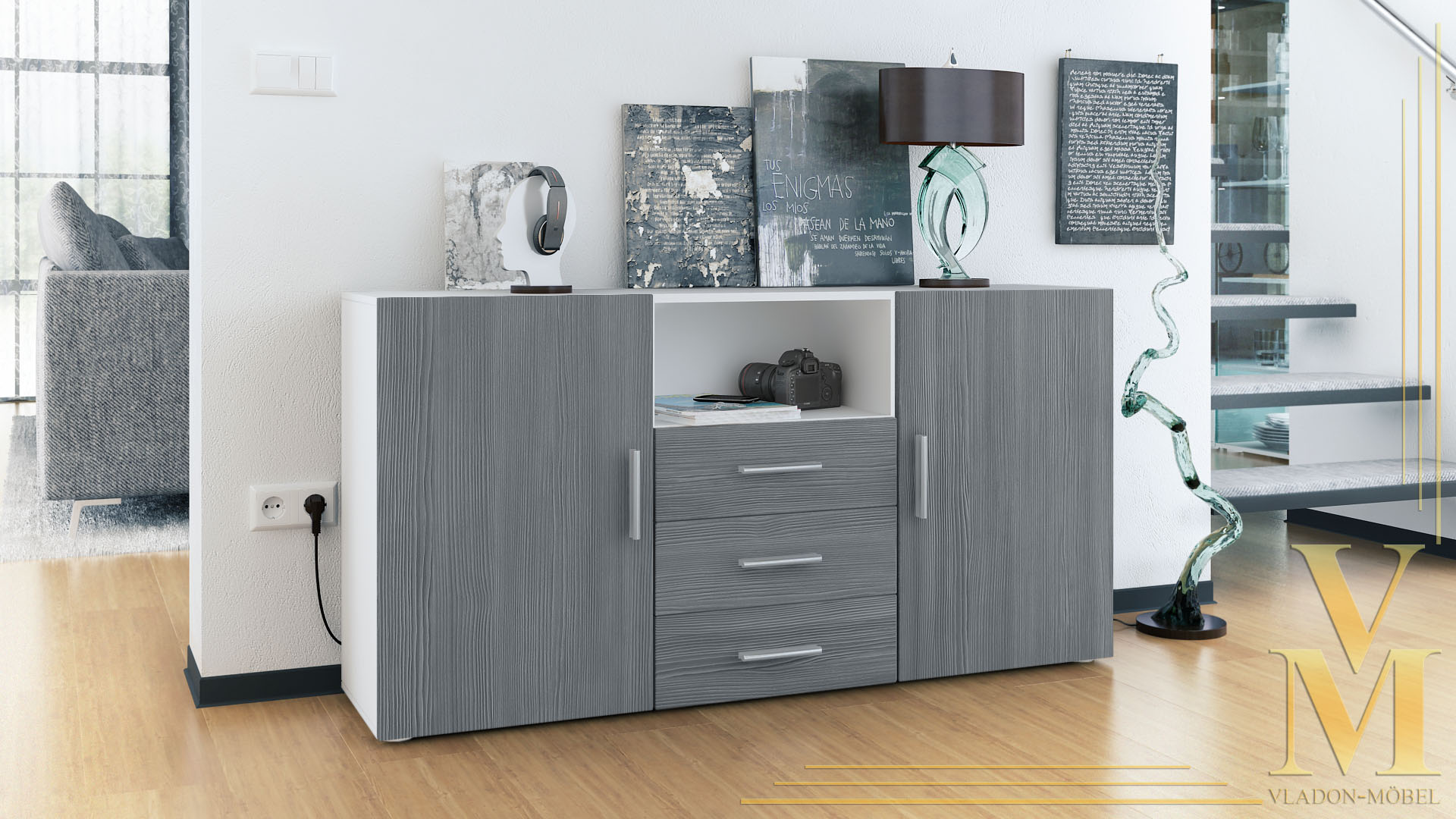 sideboard tv board anrichte kommode skadu wei in hochglanz naturt nen ebay. Black Bedroom Furniture Sets. Home Design Ideas