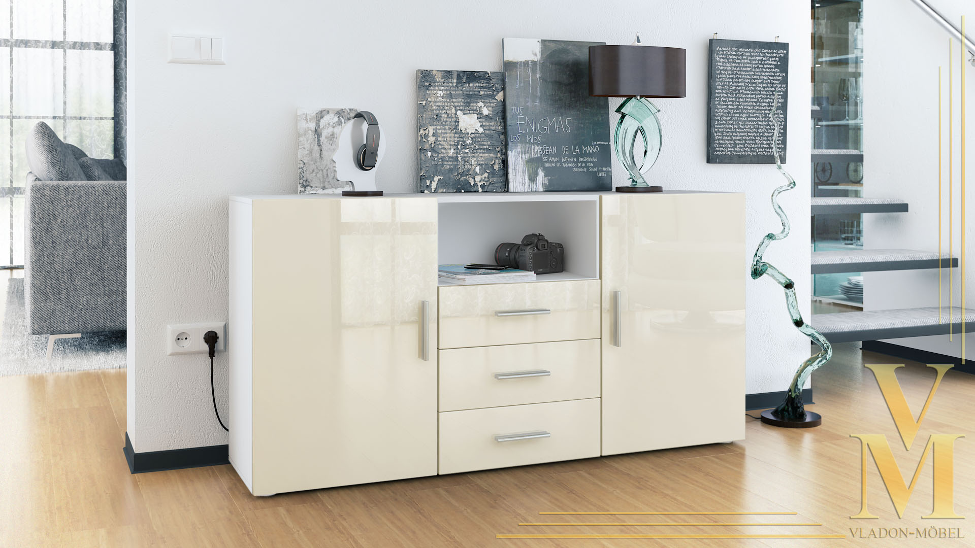 sideboard tv board anrichte kommode skadu wei in. Black Bedroom Furniture Sets. Home Design Ideas